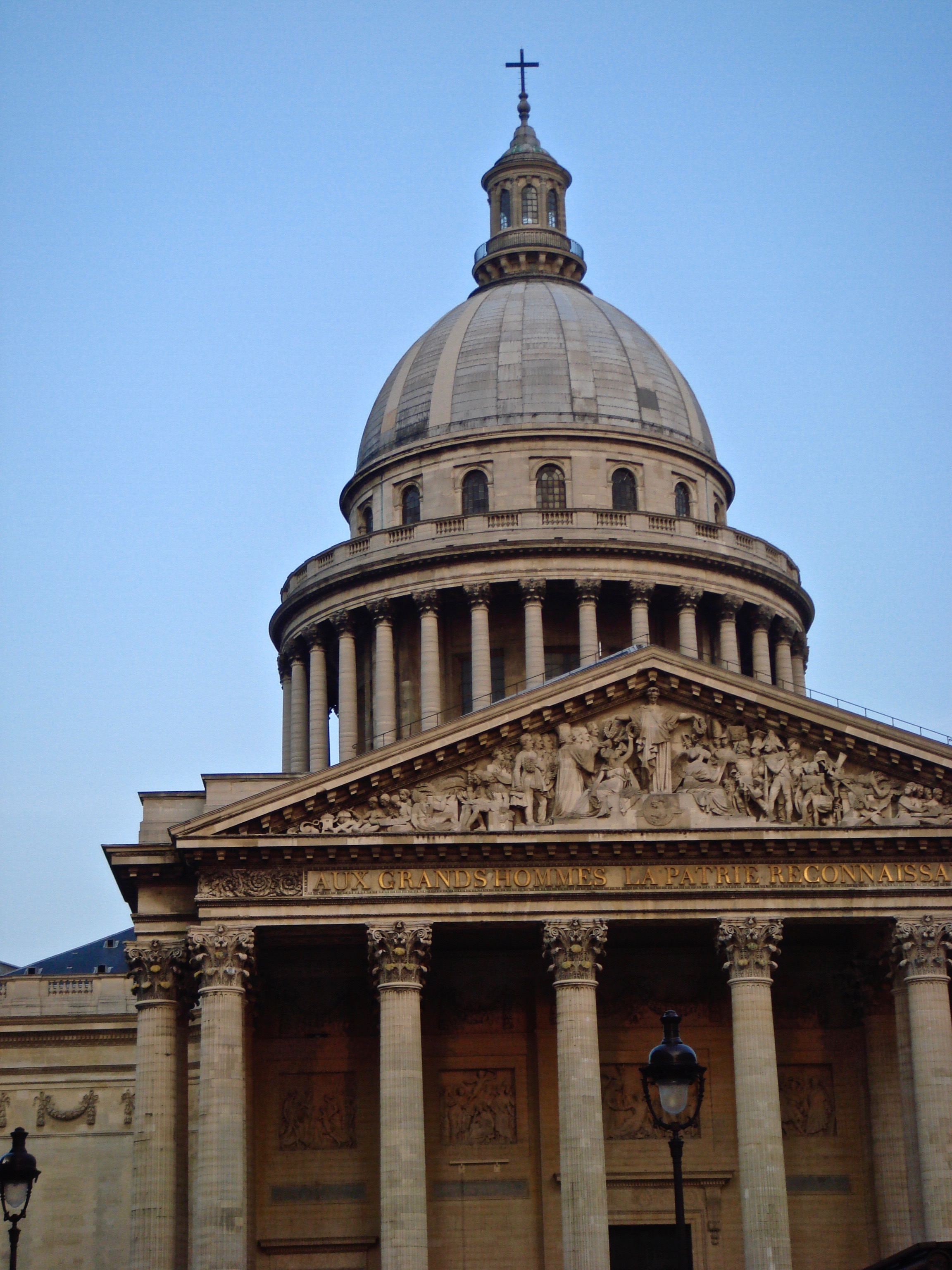 The facade of the Paris Pantheon is similar to the Roman one, but it is topped by a huge dome