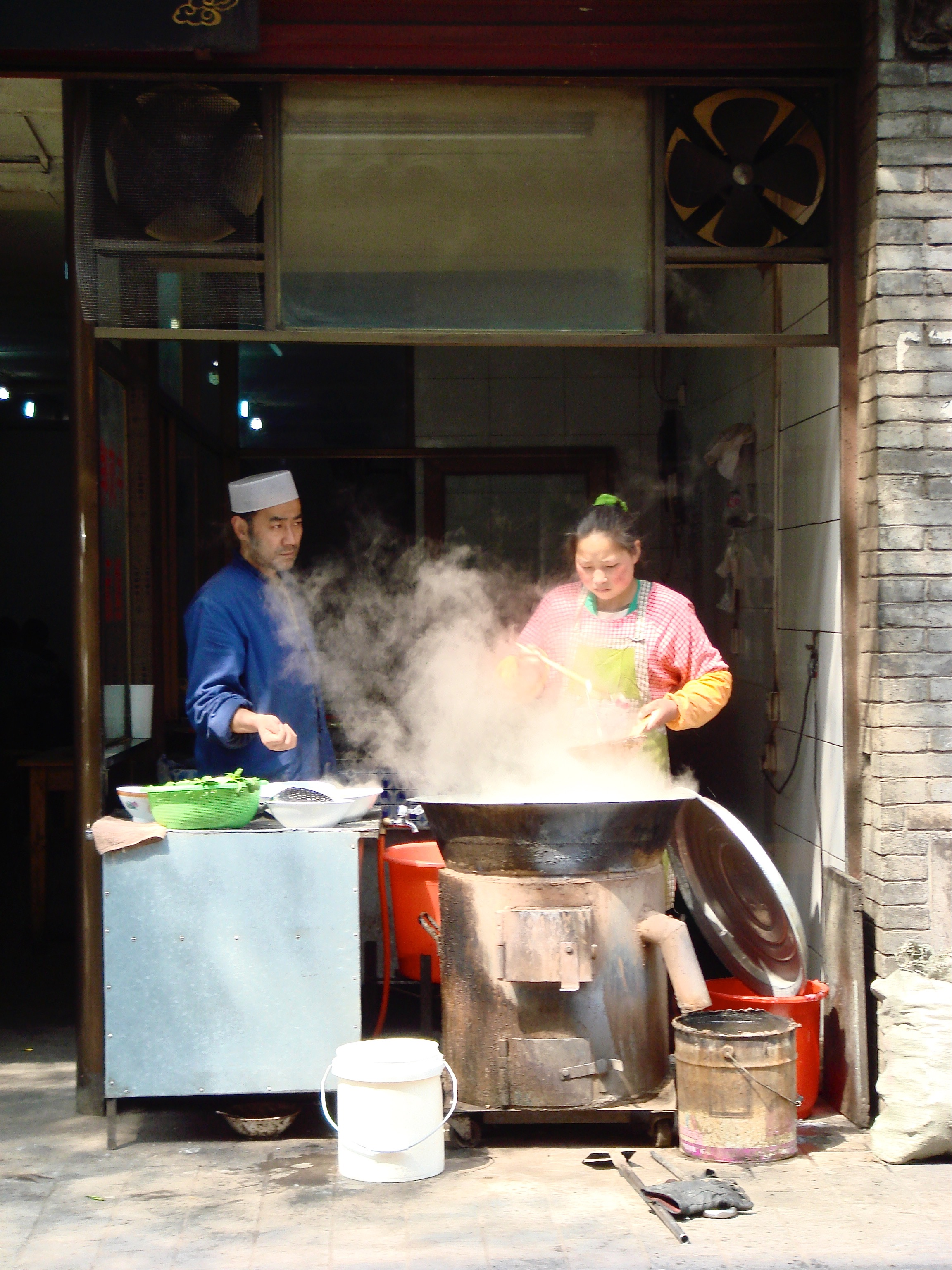 Food being prepared at a street stall in Hong Kong