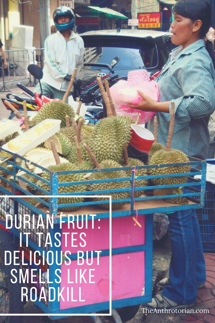 A street cart selling the Durian Fruit in Bangkok, Thailand