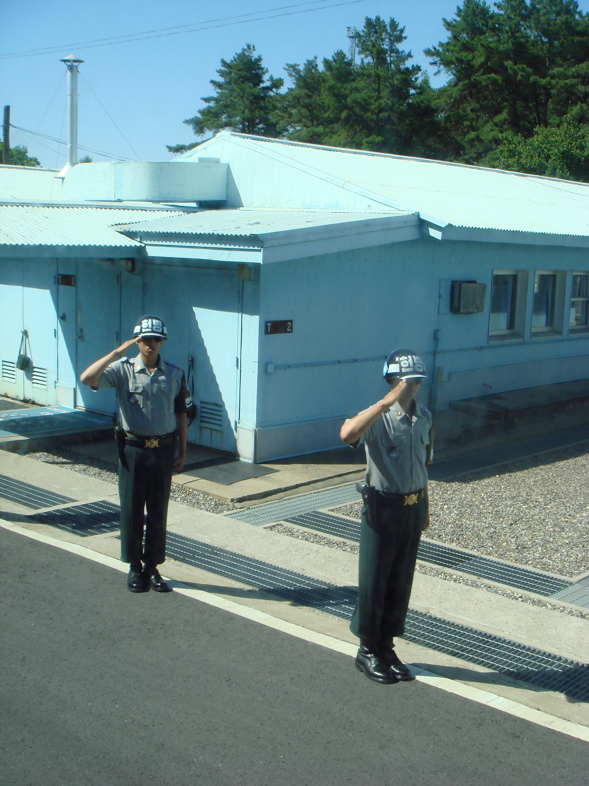 South Korean soldiers saluting our bus as we drove away from the JSA.