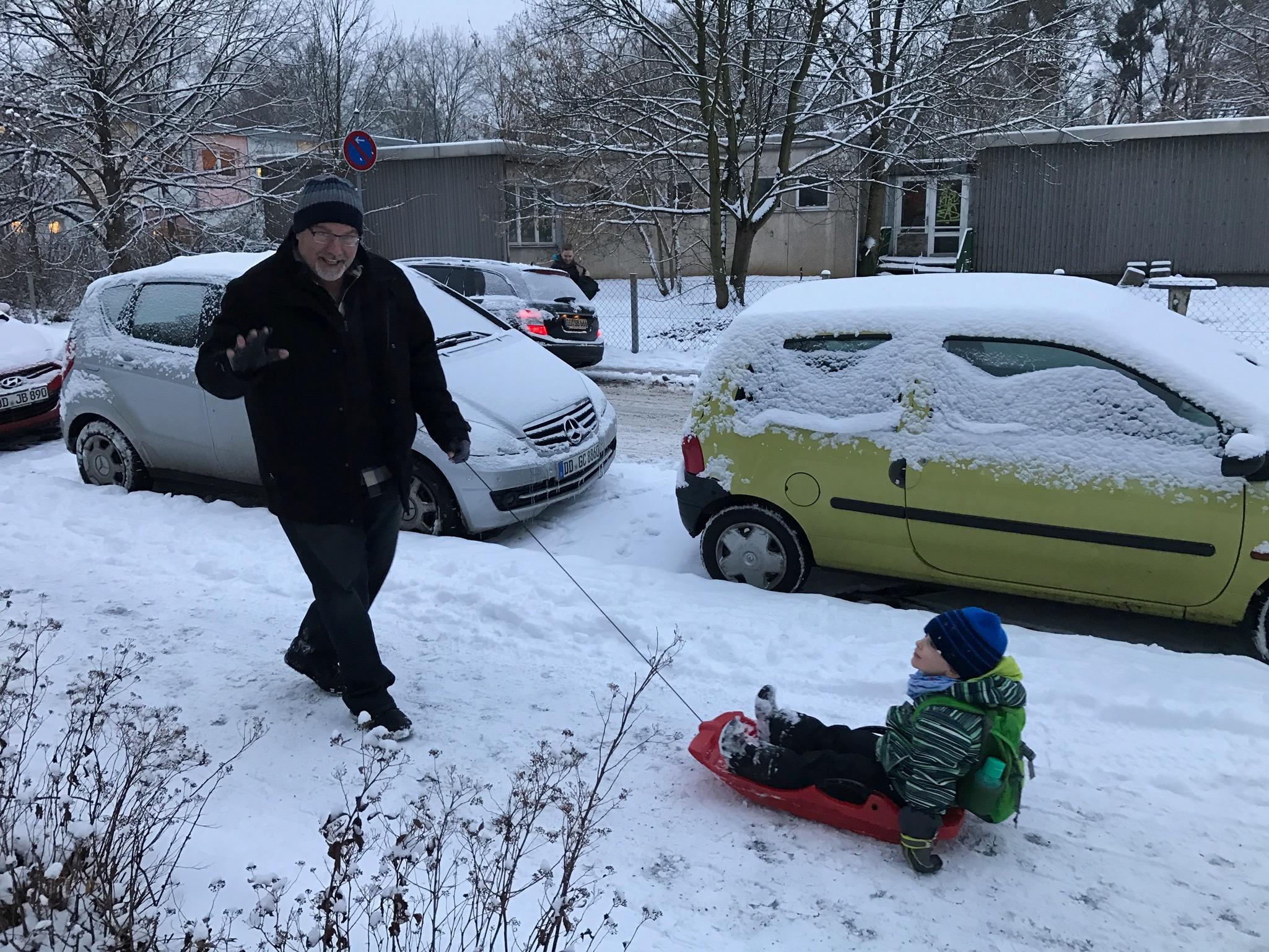 Papa Rocco bringing Ollie to school.