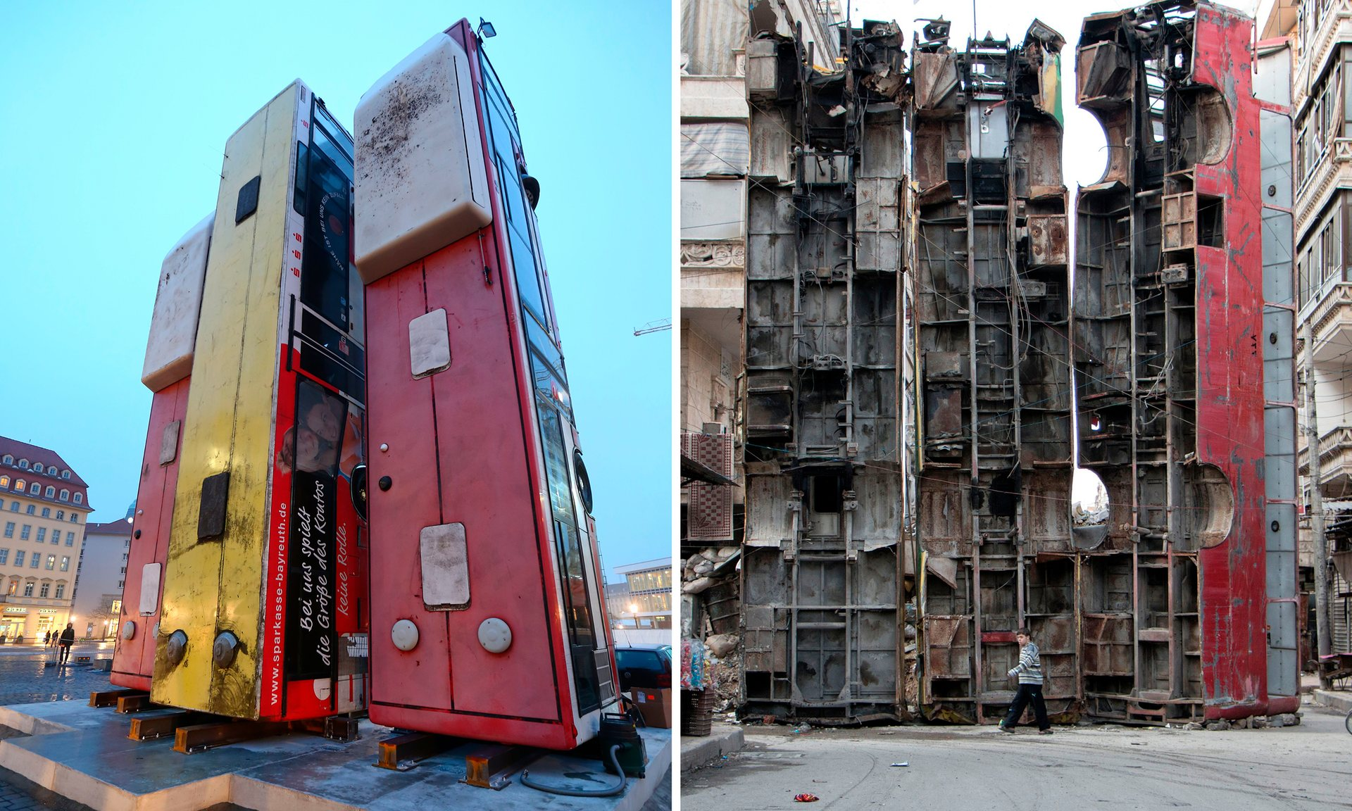 """The Dresden installation, called """"Monument,"""" on the left. On the right, the inspiration, an image from the civil war in Syria."""