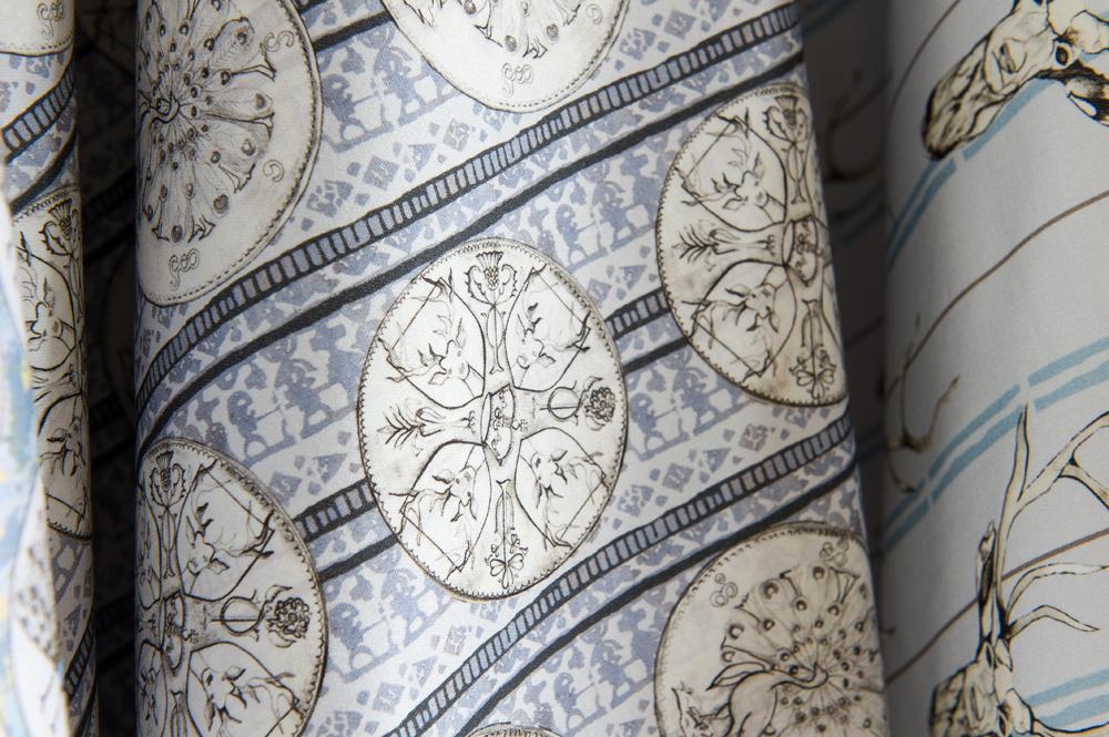Coins Cotton Satin Fabric