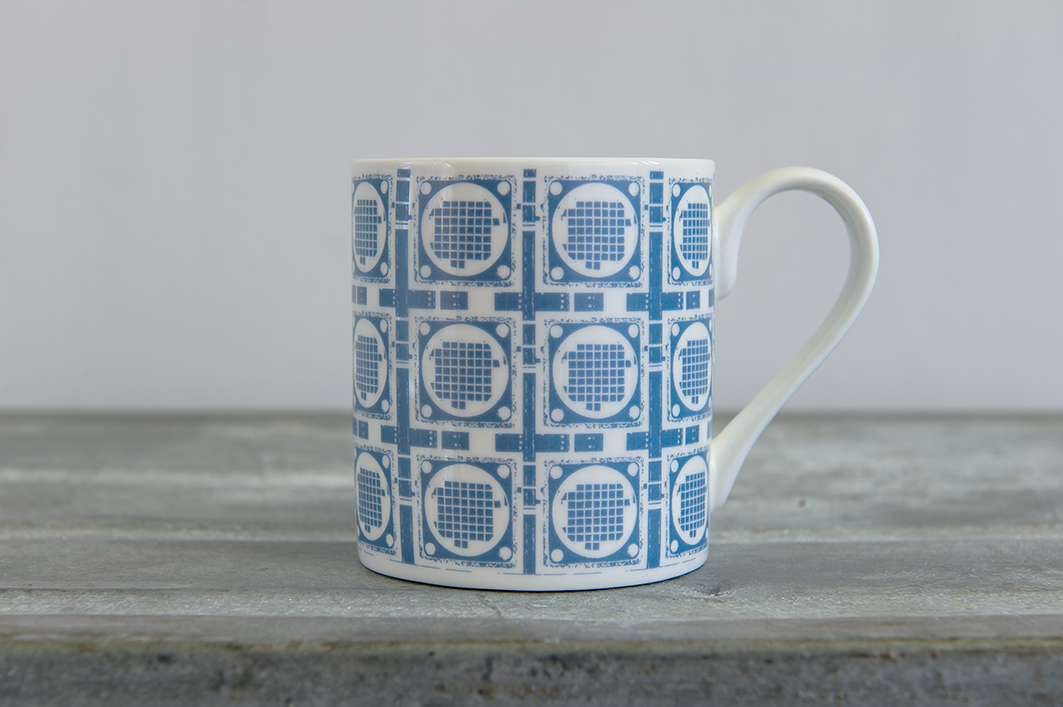 Blue Grid Repeat Bone China Mug