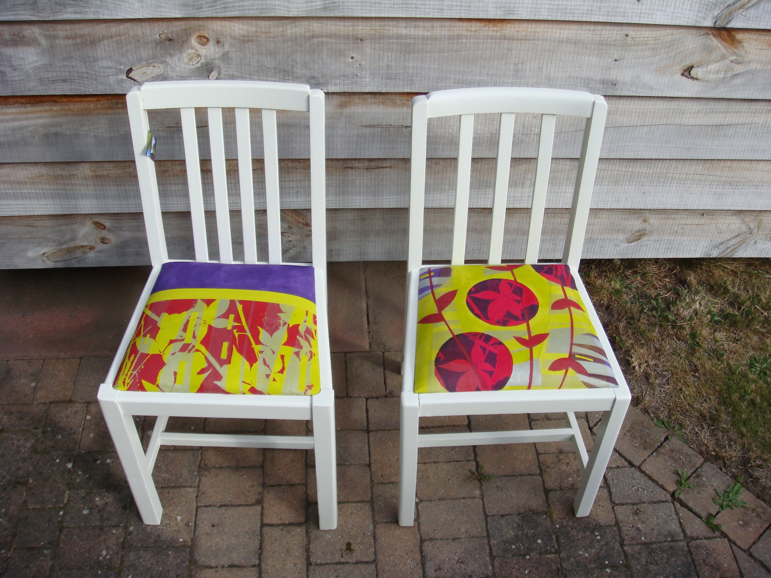 Upholstered chairs in hand painted & printed fabrics