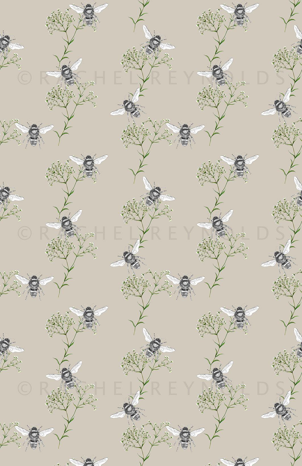 Bee & Gypsophilia Stone Wallpaper