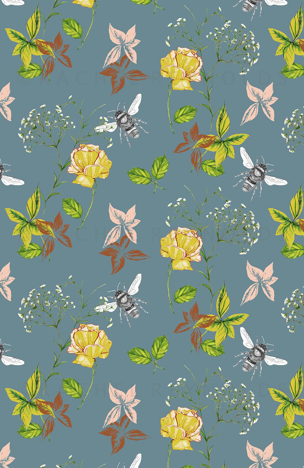 Flora & Fauna Blue Wallpaper