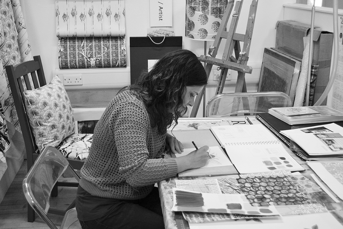 From my studio in Hampshire… - I create a unique collection of hand drawn and digitally printed luxury British interior textiles and home accessories. Inspired by nature and architecture, delicate drawings and watercolours with additions of bold hand printed pattern adorn my range of products, providing a classic heritage aesthetic with a contemporary edge.