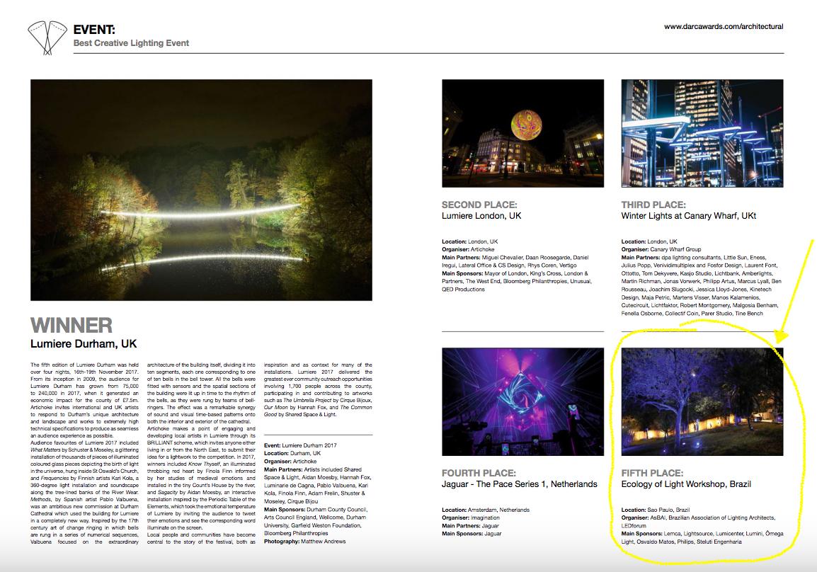WS Ecologia da luz - top 5 darc awards!