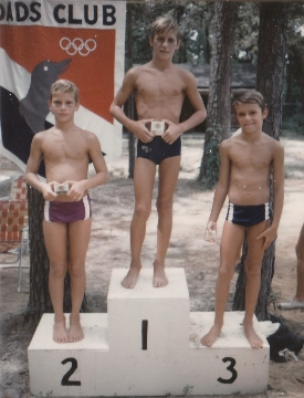 Young 1972 swimmers at the Dad's Club who later (1980-84) developed into nationally recognized swimmers as they progressed through age group swimming from a very young age. Left to right: Scott Knapp, Ricky Bodor, and Larry Craft.