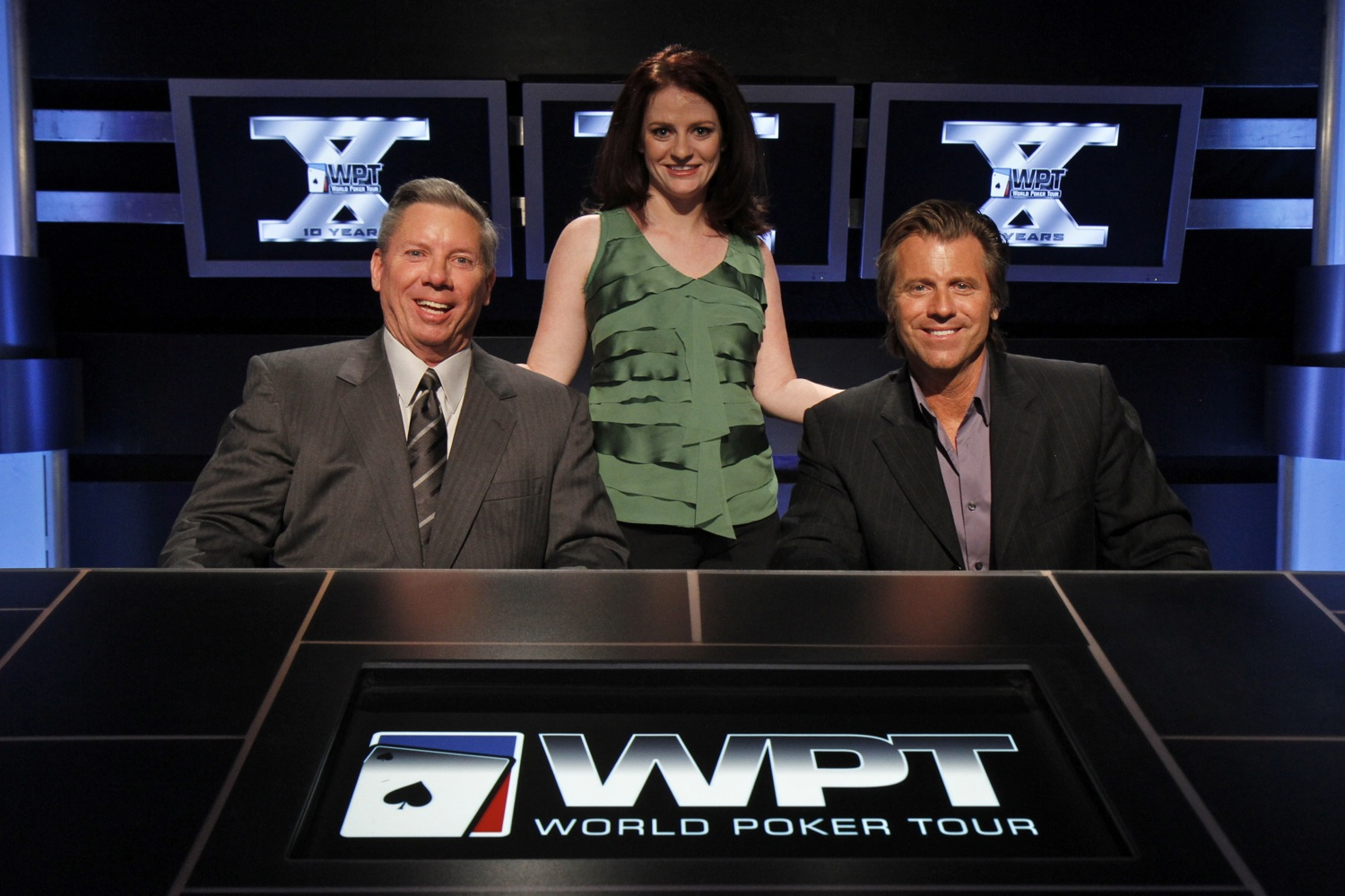 Photo:  Jessica poses with Mike Sexton and Vince Van Patten after her final WPT event.