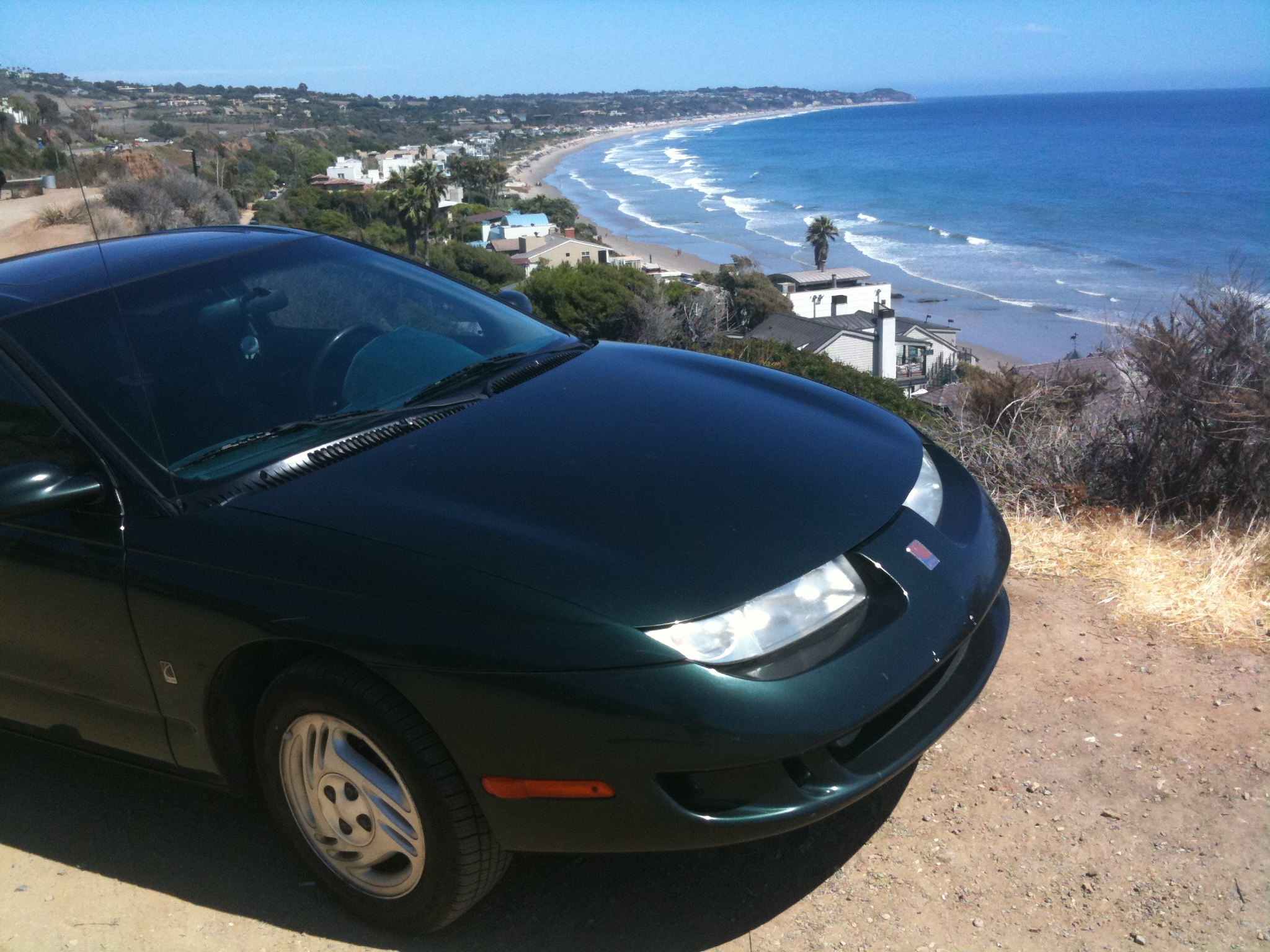 Photo:  My car overlooking the Pacific Ocean in Malibu, California.