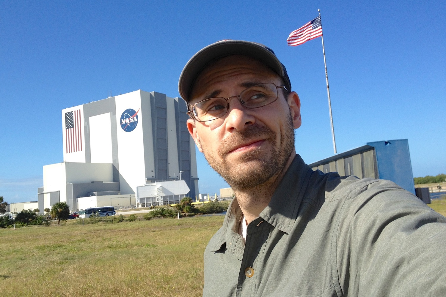Self-portrait taken at NASA's Kennedy Space Center for the November, 2011 launch of the Mars Curiosity Rover.