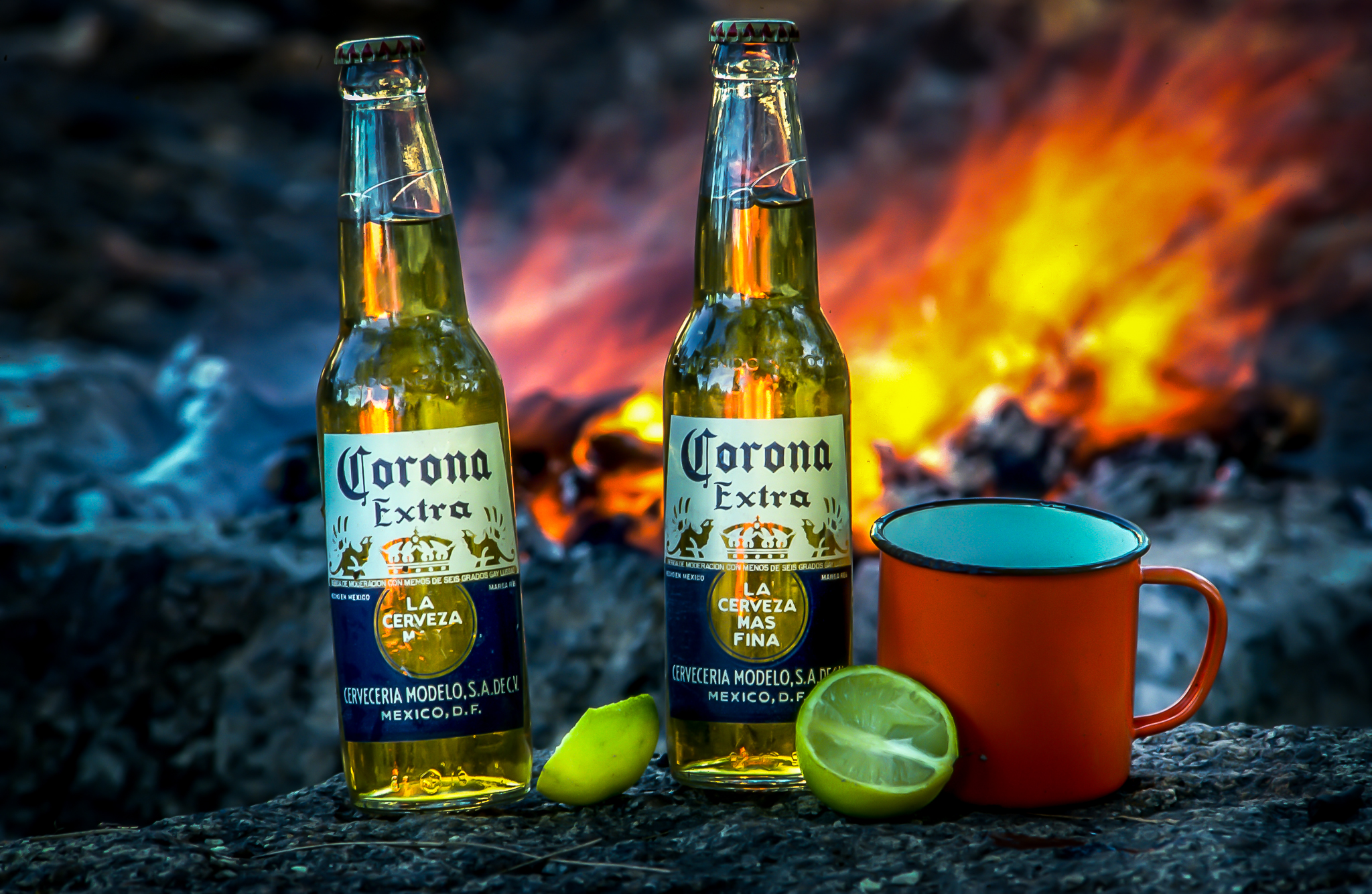 A couple of cold coronas by the campfire