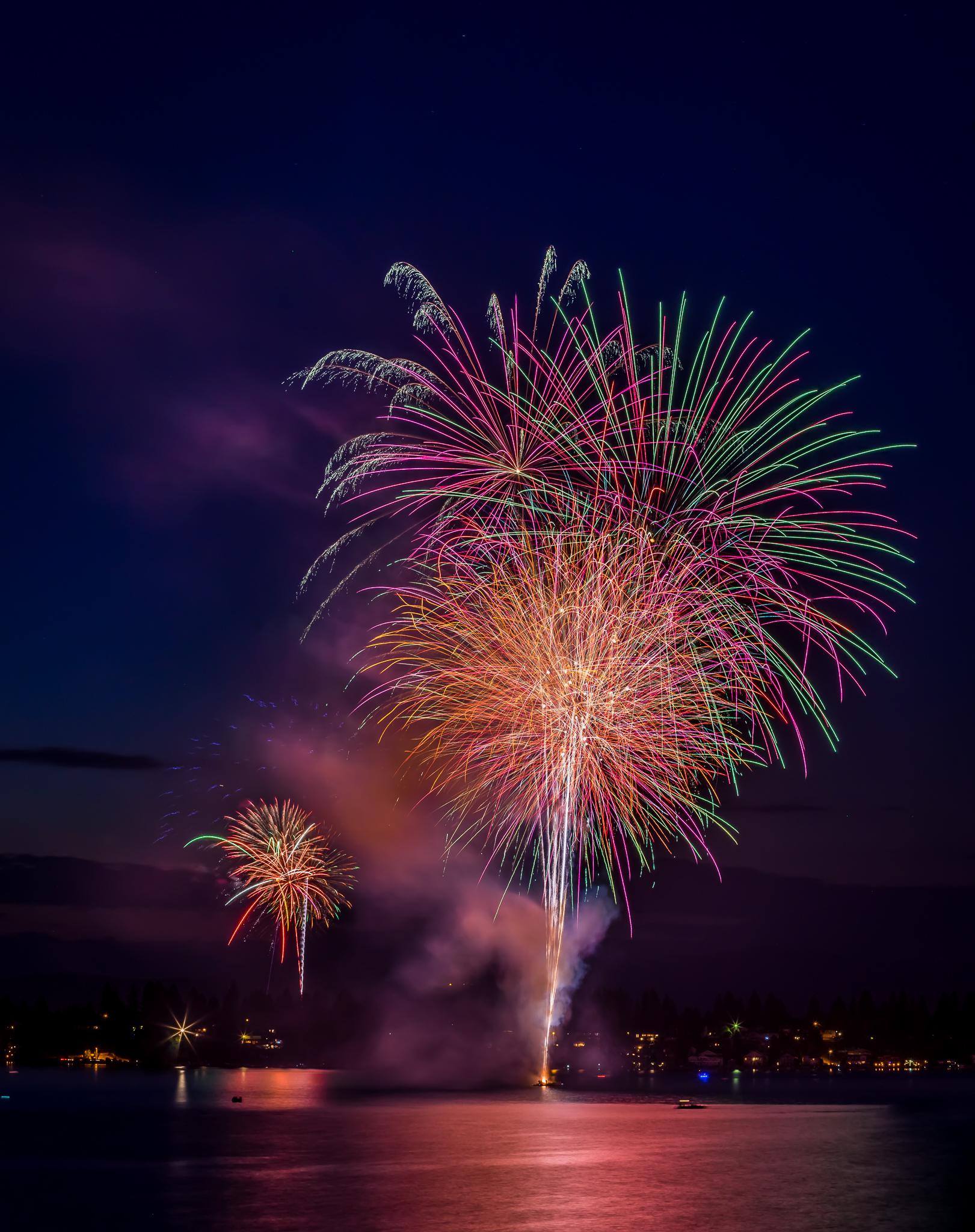 Fireworks over Liberty Lake, Washington July 4th, 2015