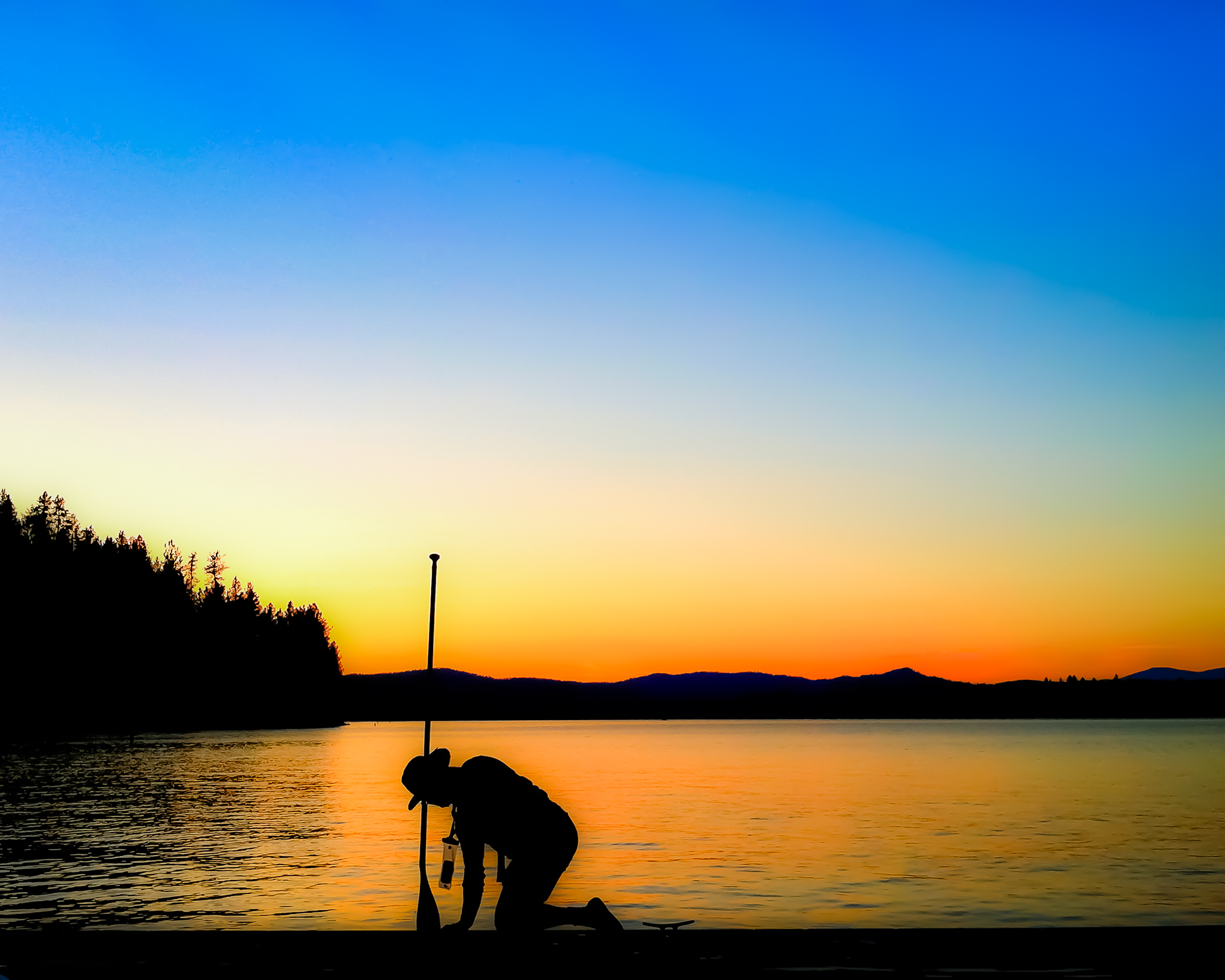 Peaceful Sunset Stand Up Paddle Launch