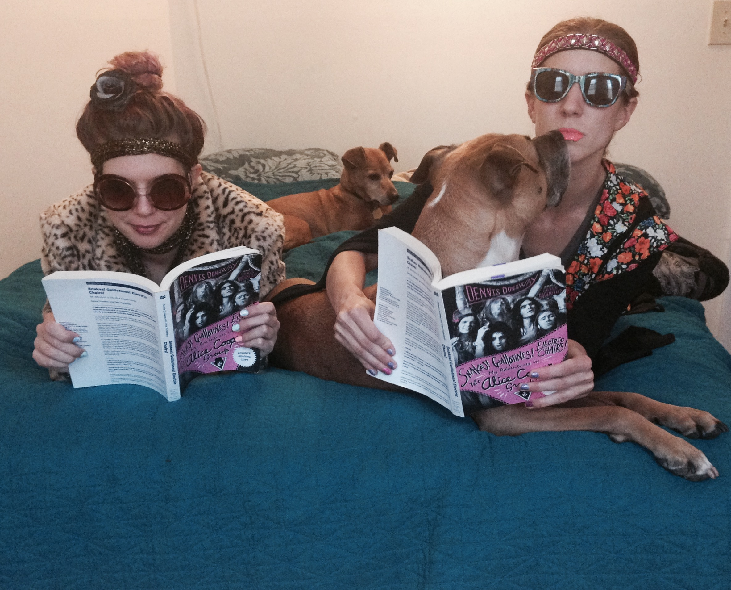 "Method actors? Try method readers! We pair our books with a fine wine, a couple of mutts, and era-apropos attire. Chelsea and Renee channel inner ""pre-Cindy costume era"" while reading advanced copies of   Snakes! Guillotines! Electric Chairs!"