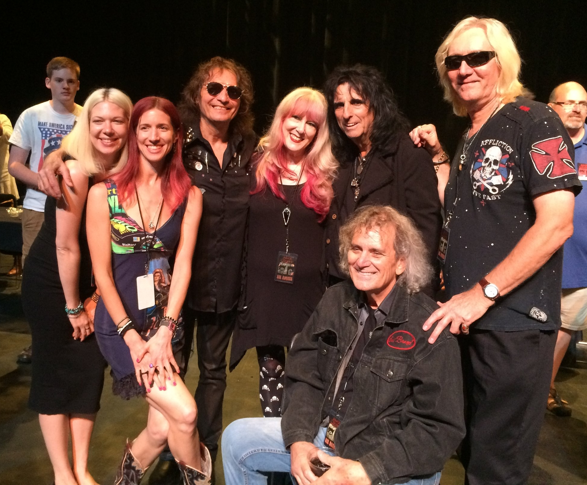 Dunaway family and Alice Cooper group backstage after the TPAC show. L to R, Chelsea, Renee, Dennis, Cindy, Alice, Michael, Neal.