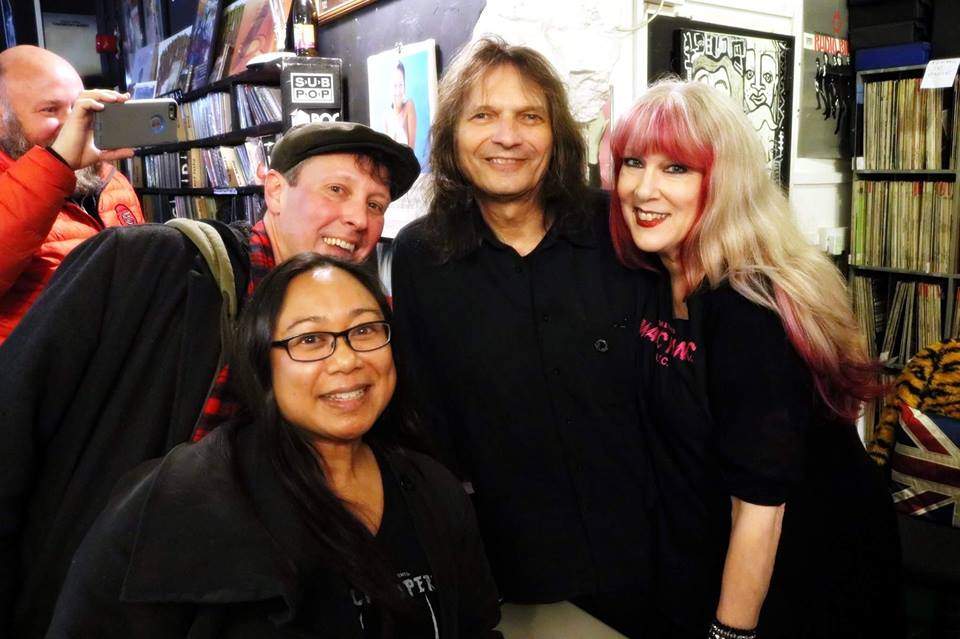 At Swordfish Records with Dylan Hillerman of Portland, Oregon who does a show called Shock Opera about the Alice Cooper group with an all female cast. Yes, that's Chris Penn of Good Records in Dallas, Texas in the red jacket. Photo by Patrick Brzezinski.