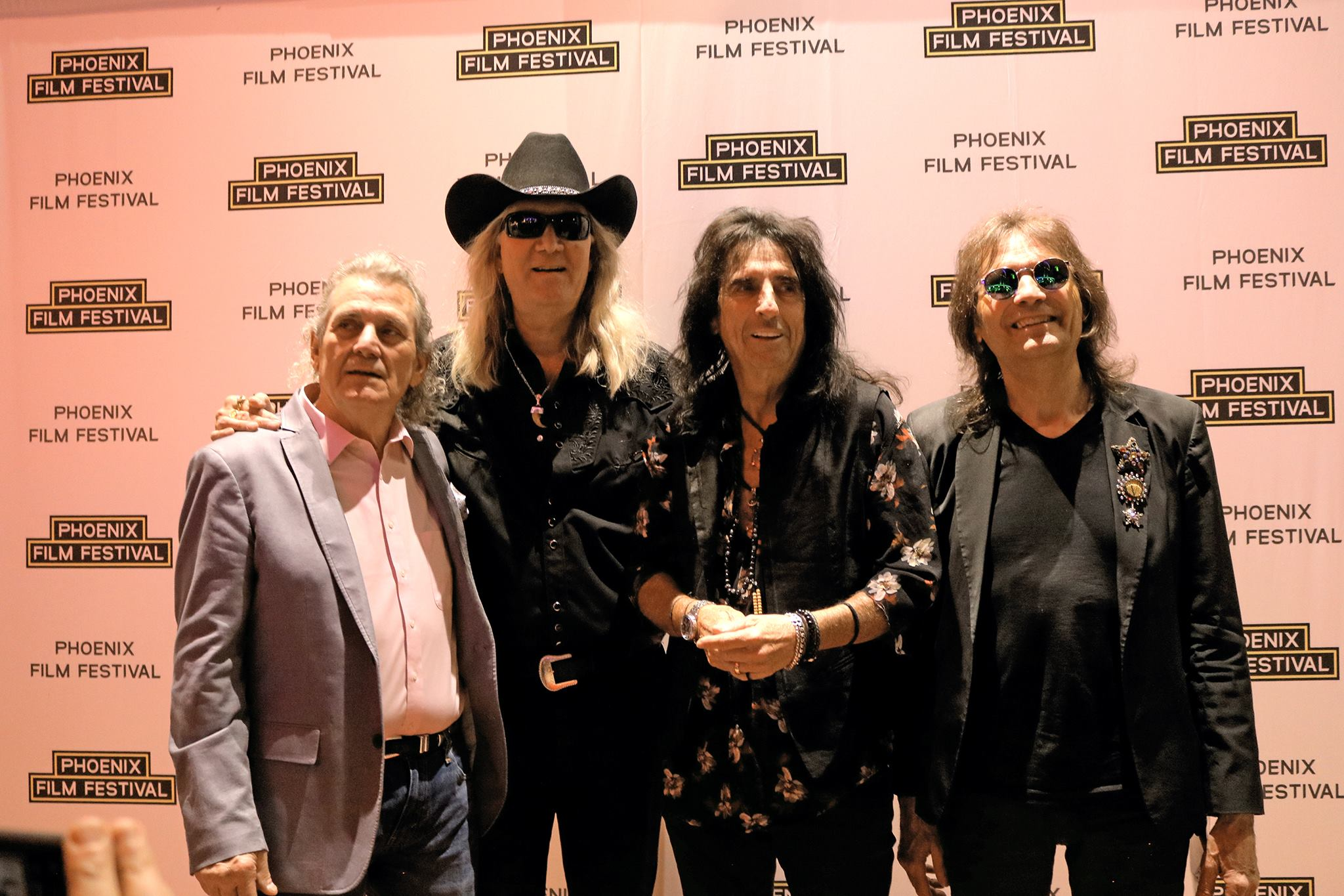 Michael Bruce, Neal Smith, Alice Cooper, and Dennis Dunaway on the Phoenix Film Festival red carpet for Live from the Astroturf, Alice Cooper. Picture by Julia Arrgh.