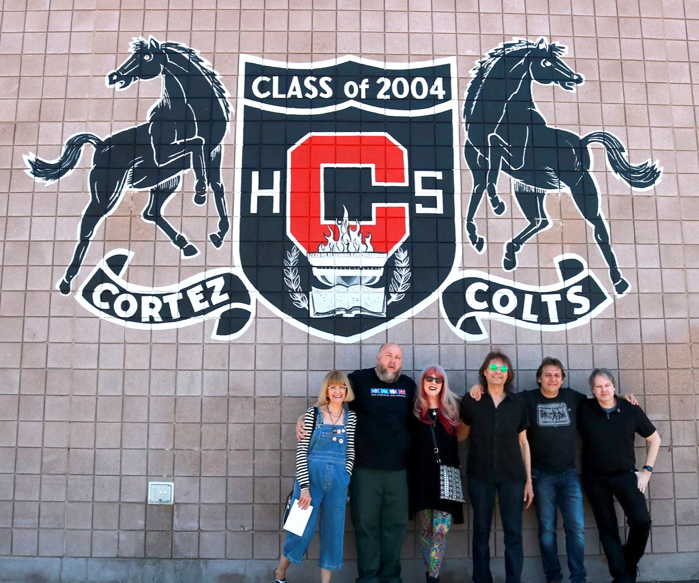 Jeanne Carney, Chris Penn, Cindy & Dennis Dunaway, Patrick Brezinski, and Steve Gaddis at Cortez High School, where Dennis and Alice met. Picture by Julia Arrgh.