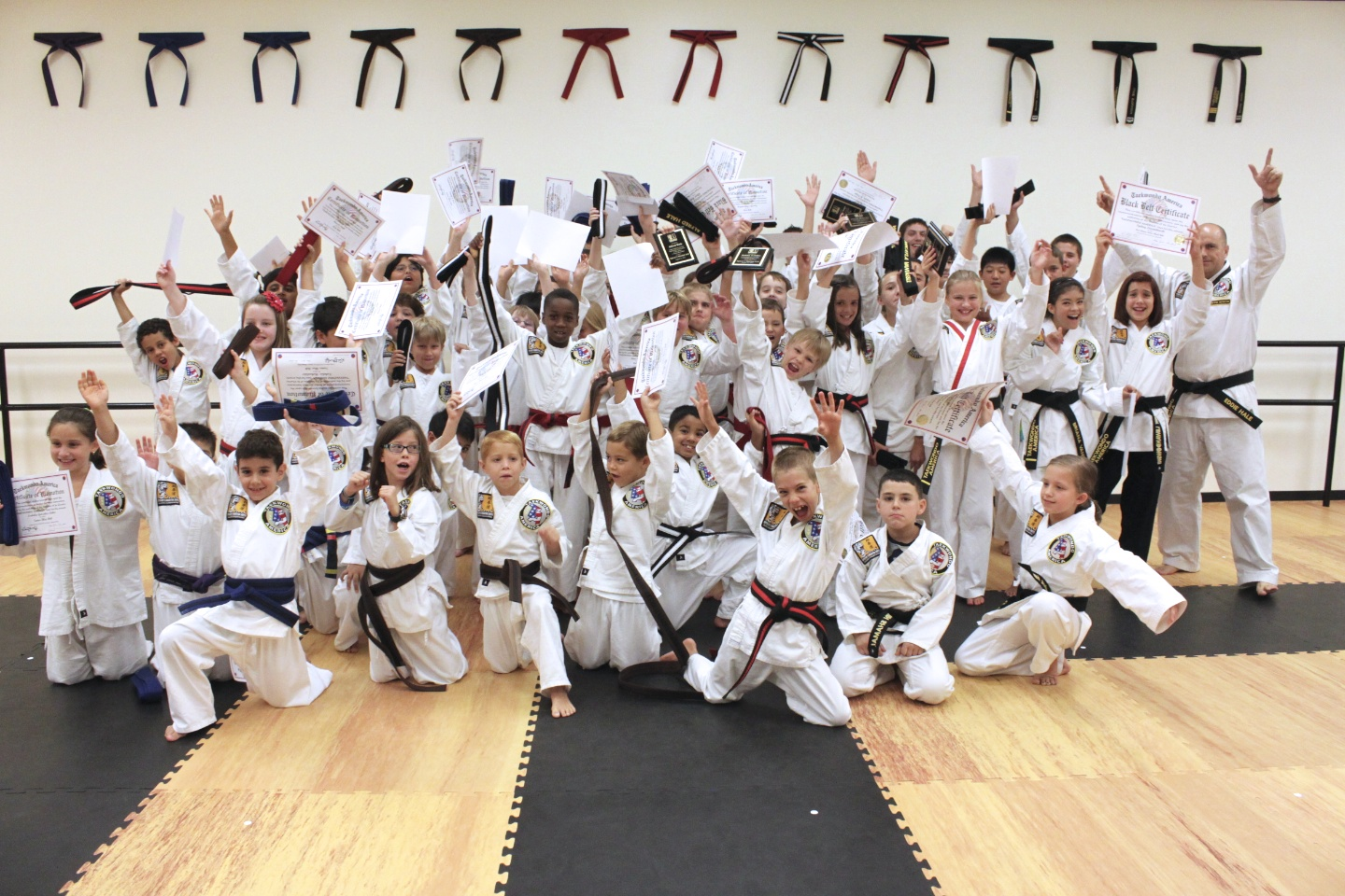 The picture shows our advanced students - Brown through Black Belt.