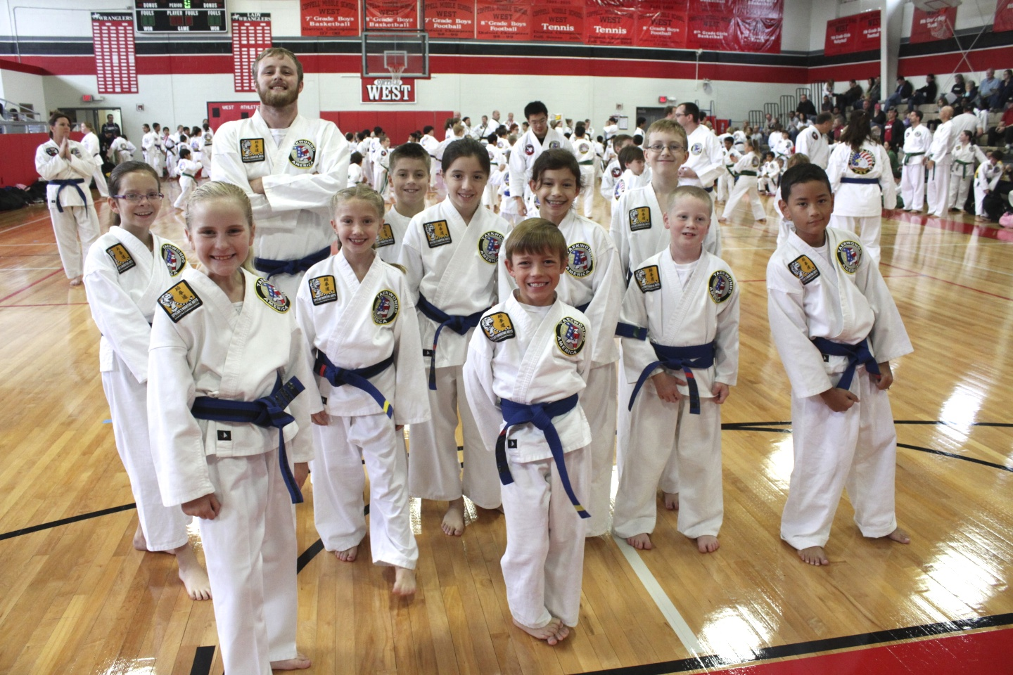 Some of our Blue Belt students. Good luck on your testing!