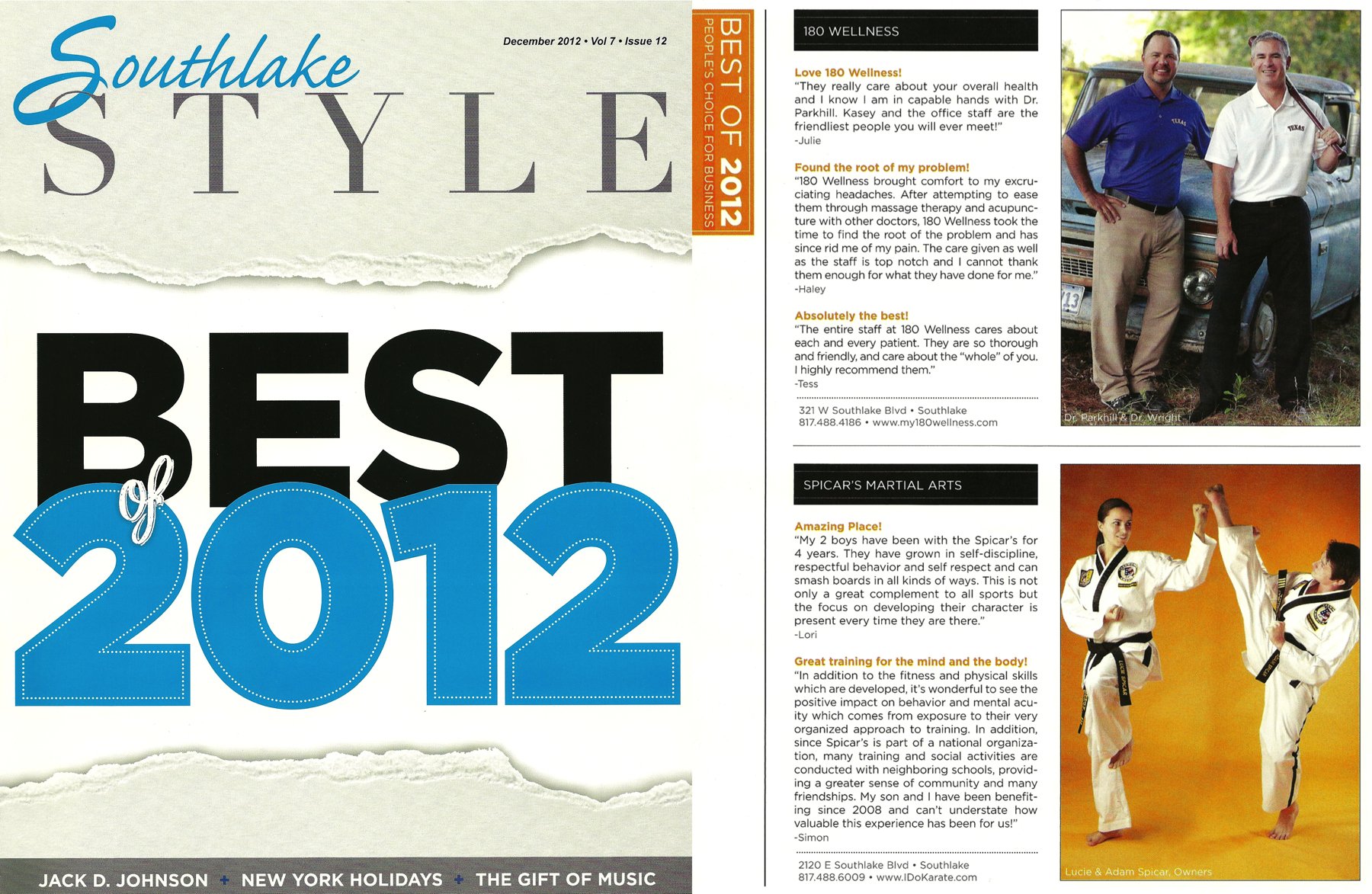 Spicar's Martial Arts Taekwondo Karate featured in the Best of 2012 issue of Southlake Style.
