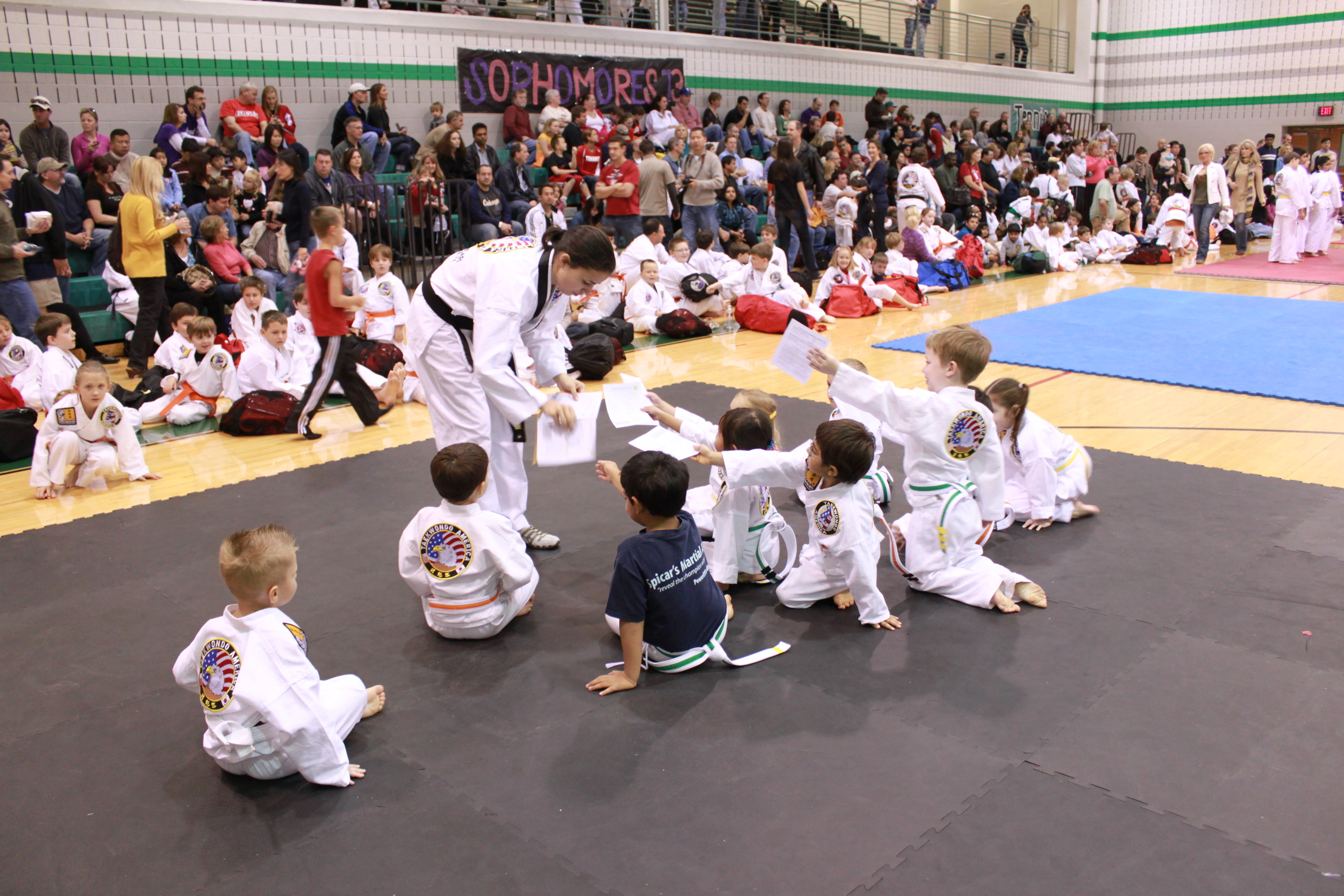Mrs. Spicar starting our youngest (4 and 5 year old) students for their martial arts competition.