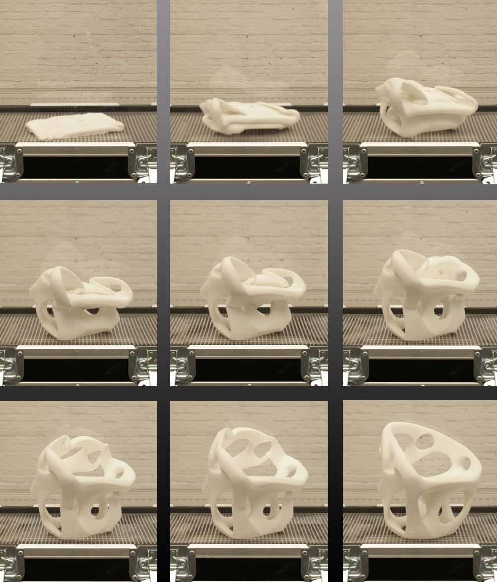 Memories of the Future by Noumenon: The step-by-step process of a designed seat in its packaged form transforming into its desired shape