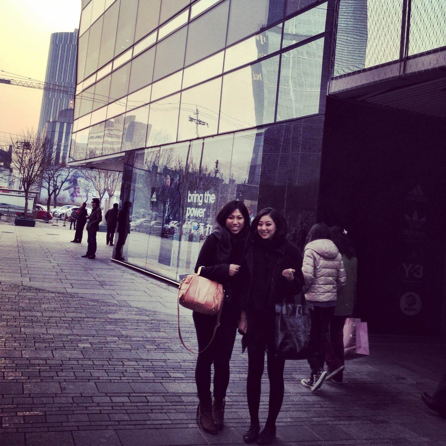 Standing in front of the world's largest Adidas store.Sanlitun Village, 2011.