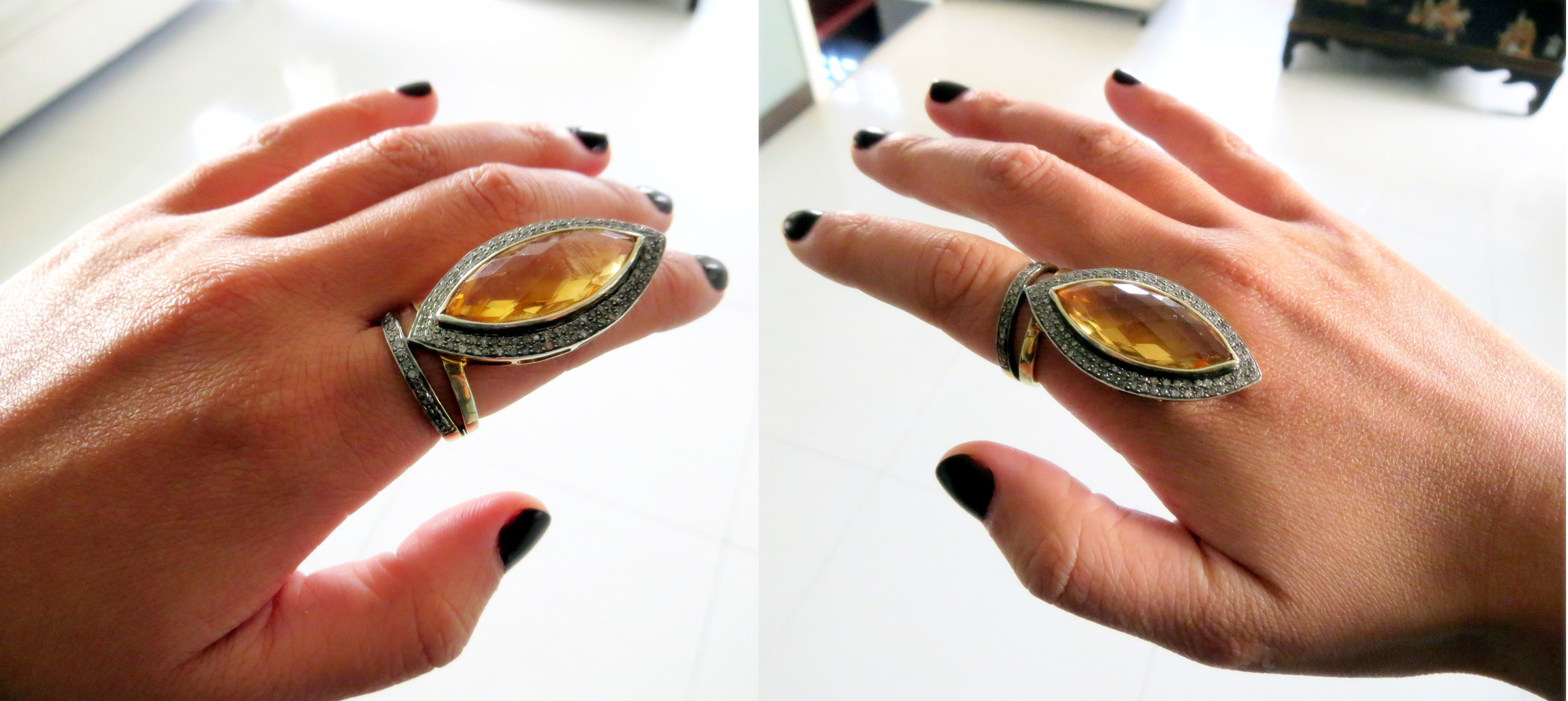 Amber and diamond knuckle ring (RMB 1,650)