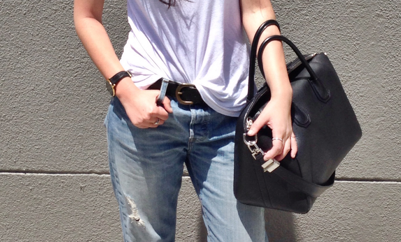 EVERLANE   Ryan tank   / LARSSON & JENNINGS   Lader watch   / FOREVER21  belt  / LEVI'S  boyfriend jeans  / GIVENCHY   Antigona duffel   / BIRKENSTOCK   white Arizona sandals