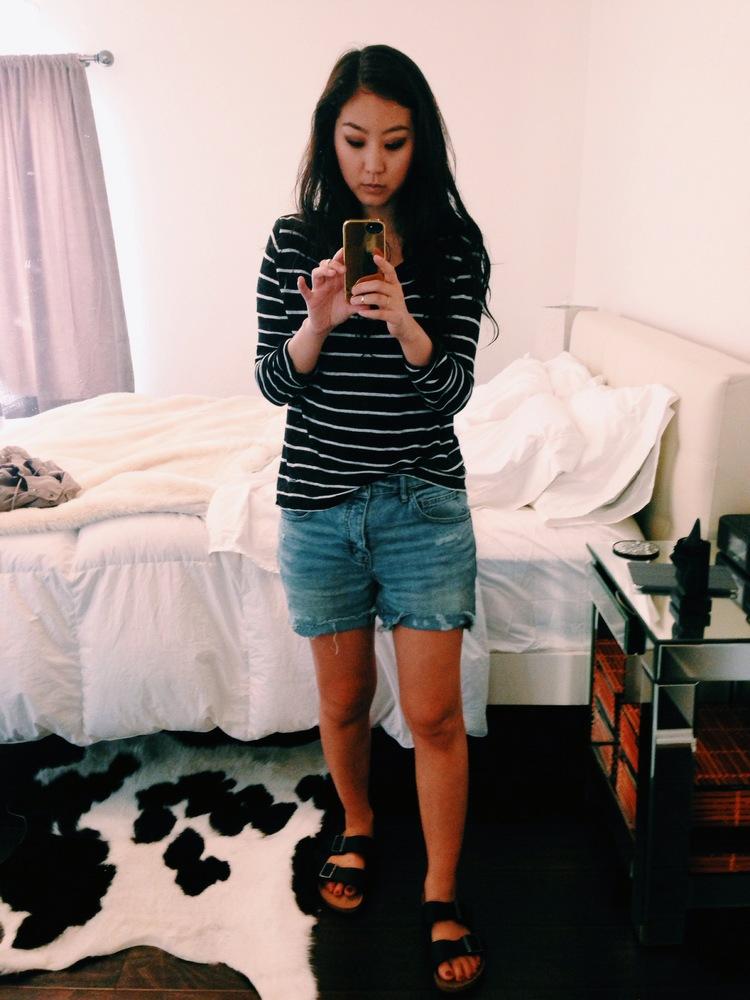 ZARA  striped sweater  / FREE PEOPLE  boyfriend shorts  / BIRKENSTOCK   Arizona sandals