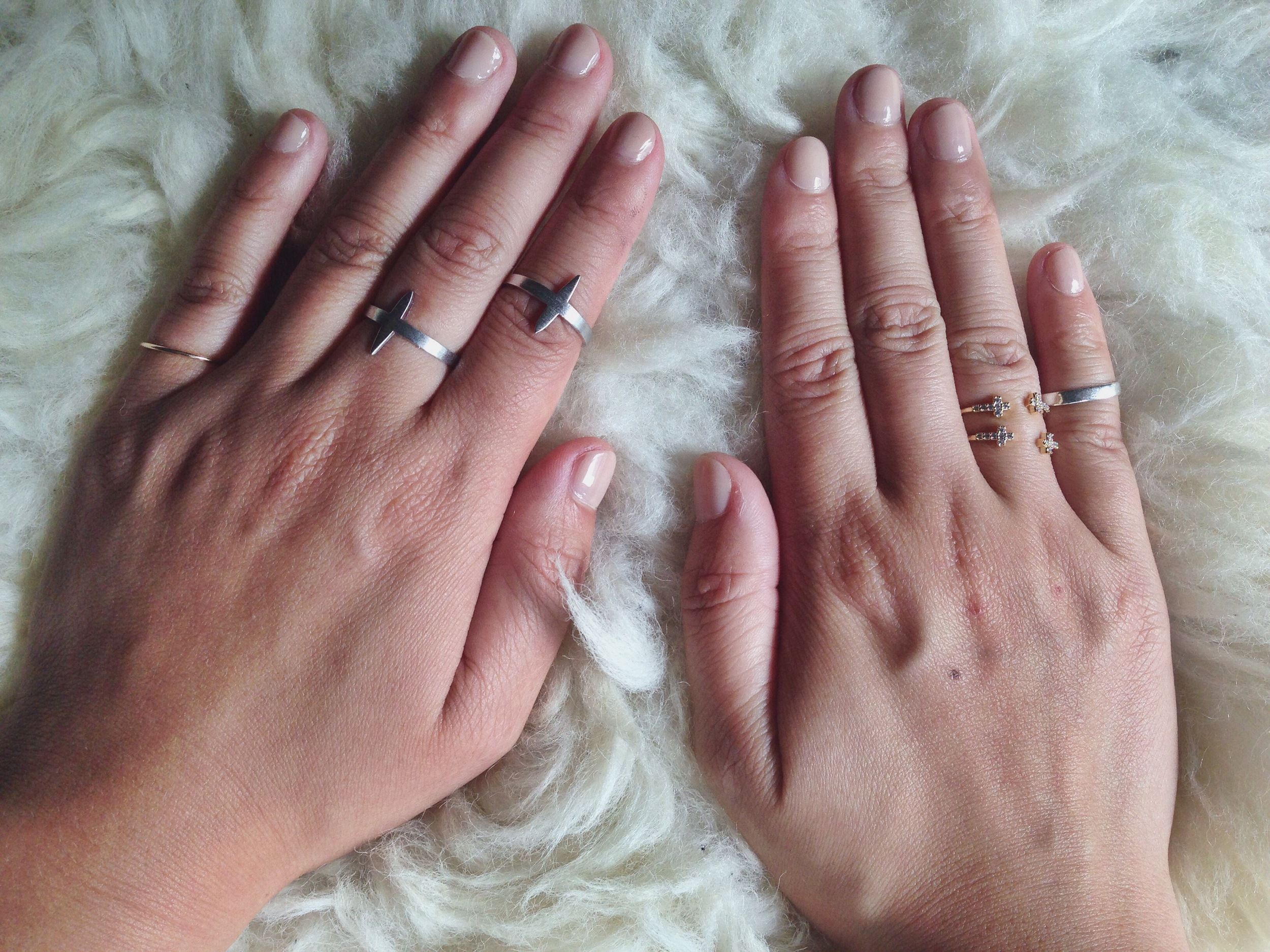 (FROM LEFT)  HOMEGROWNSILVERSTONE   stacking rings (via Etsy)   / RUE GEMBON   Natascha Silver midi ring duo   /  RUE GEMBON   Vincy Gold midi ring set   / CATBIRD   Tomboy knuckle ring