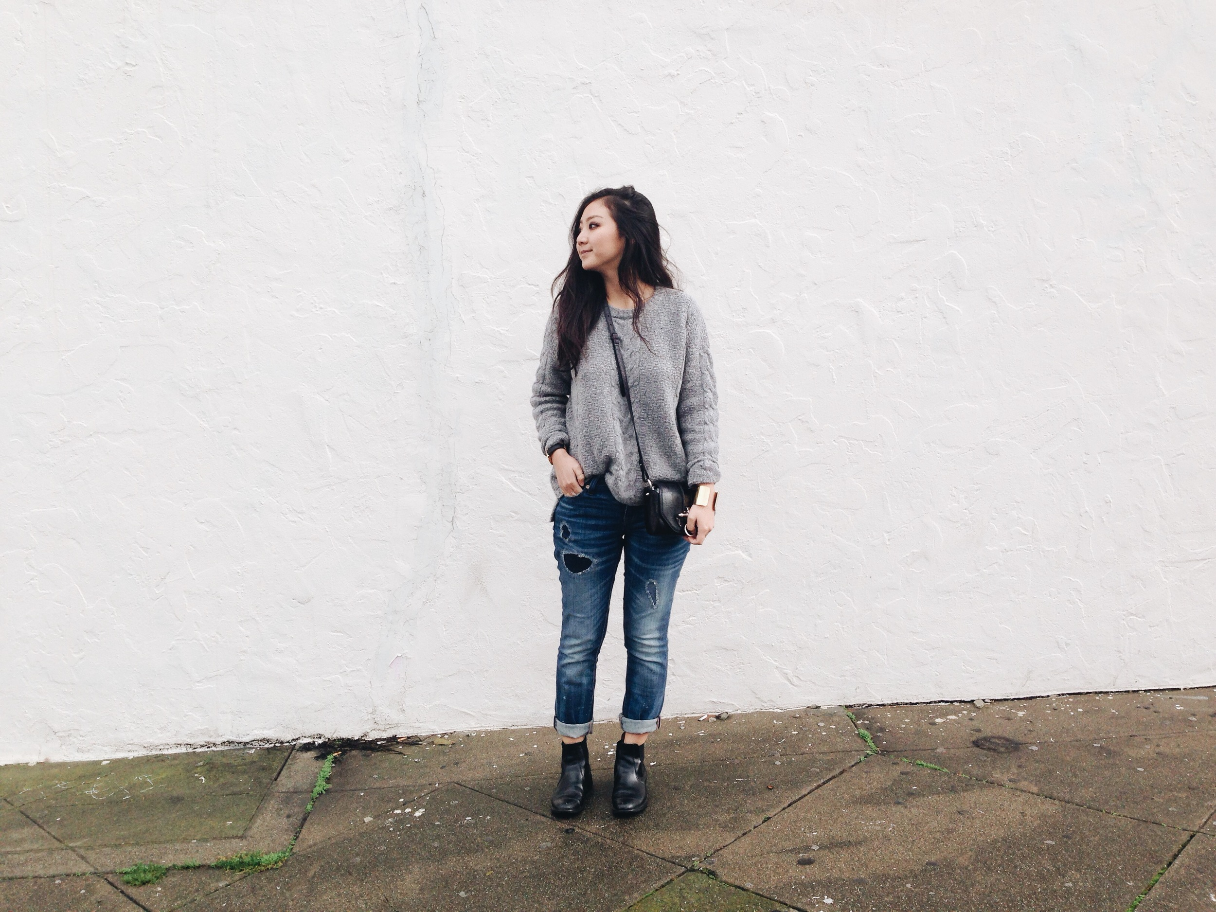 MADEWELL   cable pullover knit  / MADEWELL  boyfriend jeans  / CHELSEA BOOTS (via  Beijing's Silk Market ) / GIVENCHY  Obsedia bag