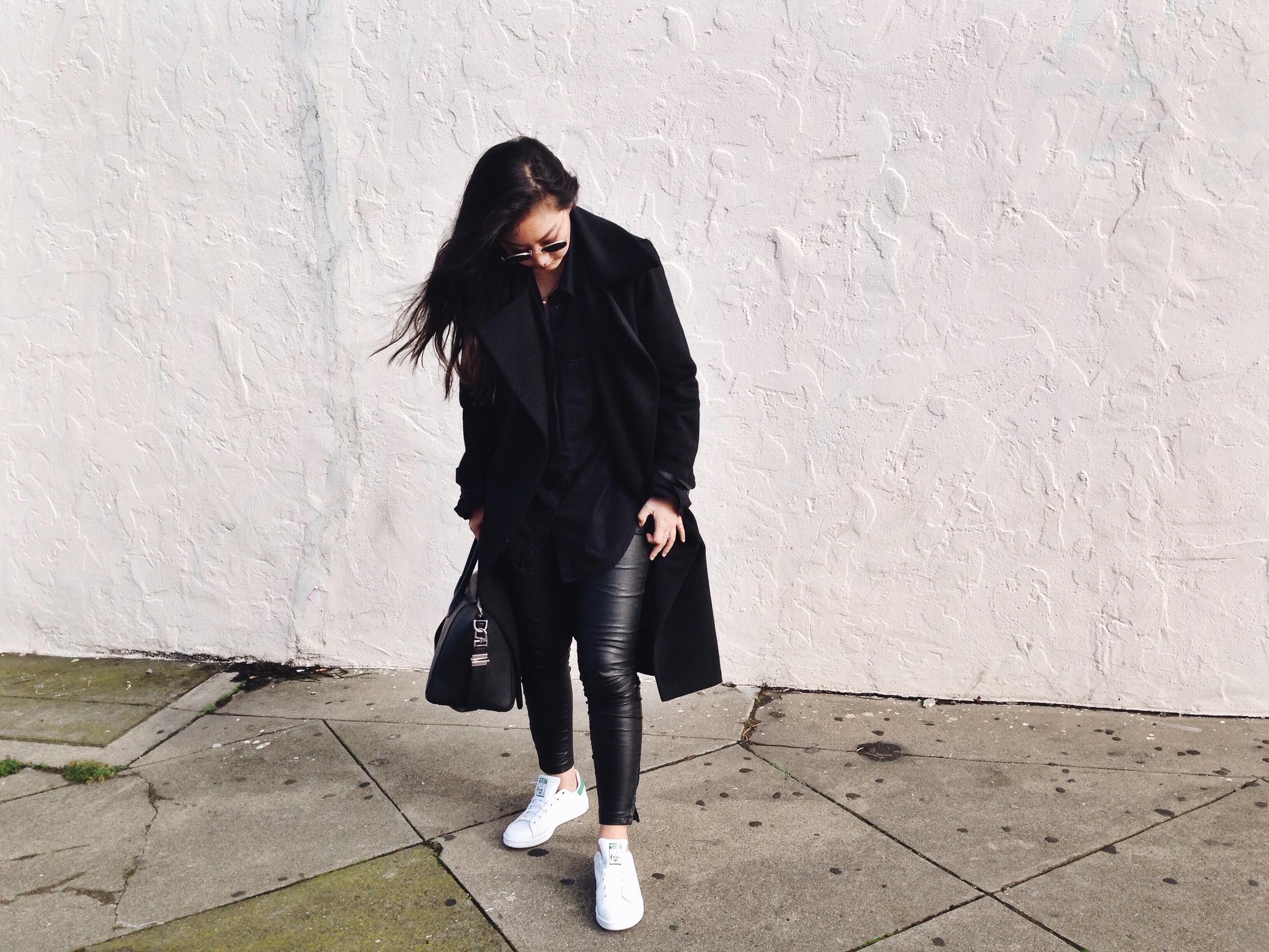 CUSTOM-DESIGNED maxi coat /  BLANK DENIM   vegan leather leggings  / ADIDAS  Stan Smith sneakers  / GIVENCHY  Antigona tote  / R AY-BAN   retro-roundsunglasses