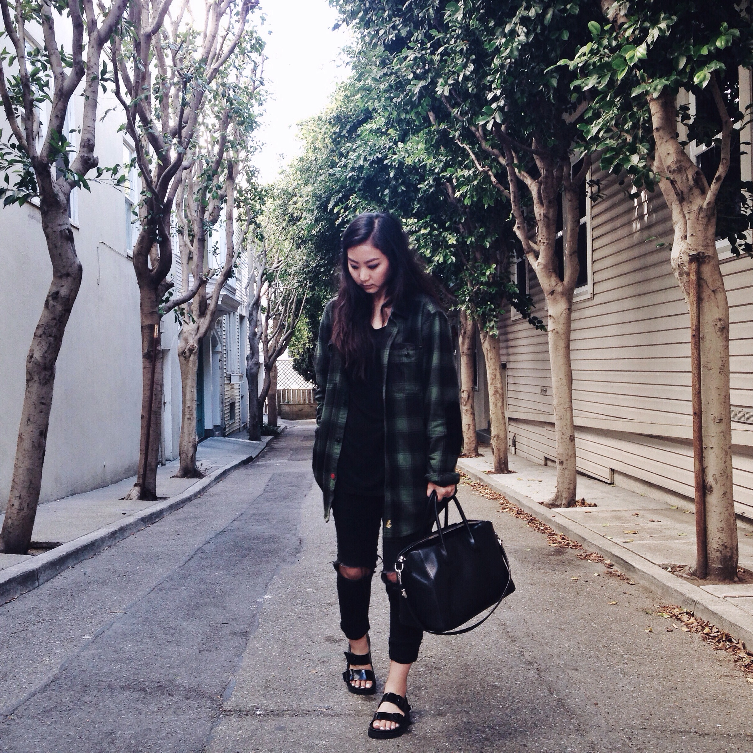 CPO CHAMBERS   flannel shirt (via Urban Outfitters)   / REFORMATION   Jetty dress   /  GAP    jeggings   / ZARA  sandals