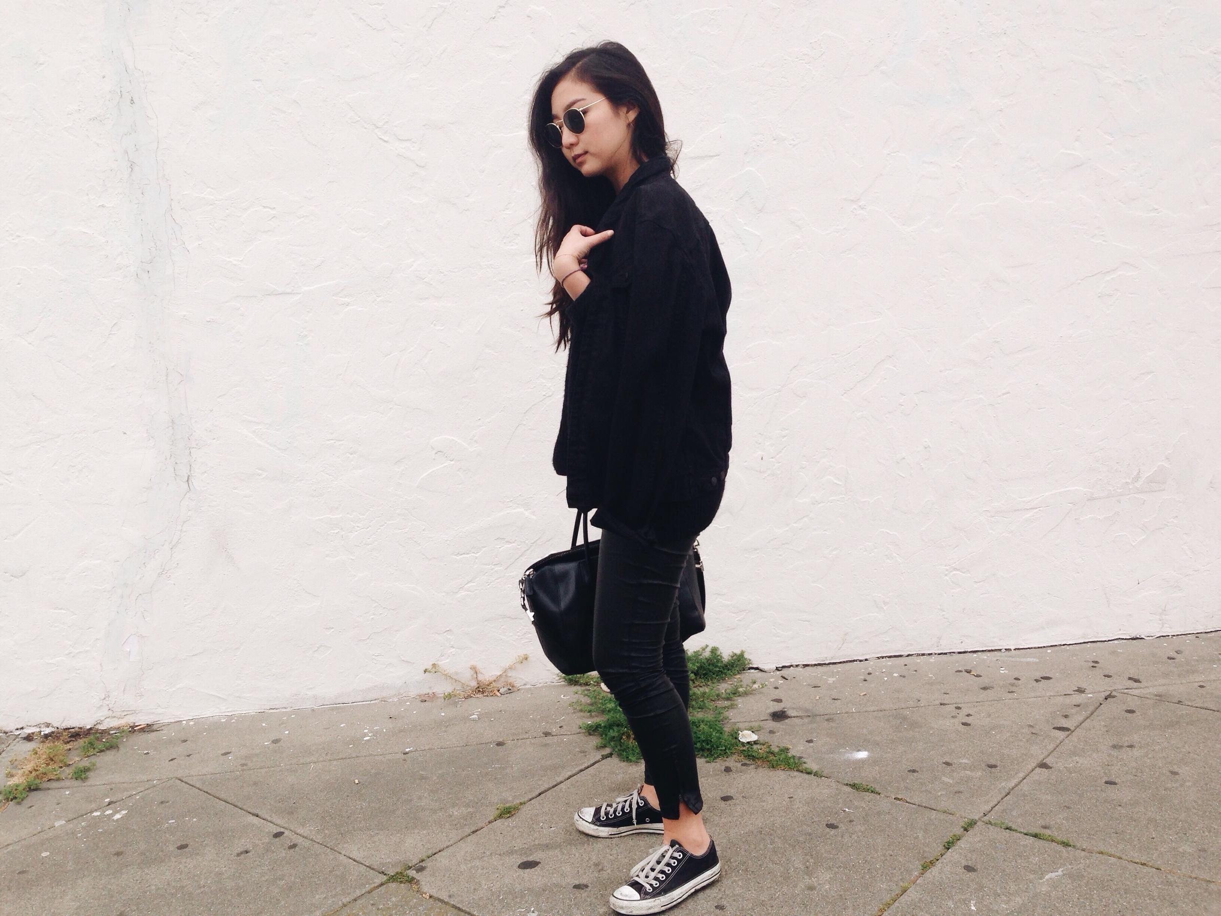 ZARA  black denim jacket (from men's section) /  BLANK DENIM   vegan leather leggings  /  CONVERSE   sneakers  / REFORMATION  Jetty dress