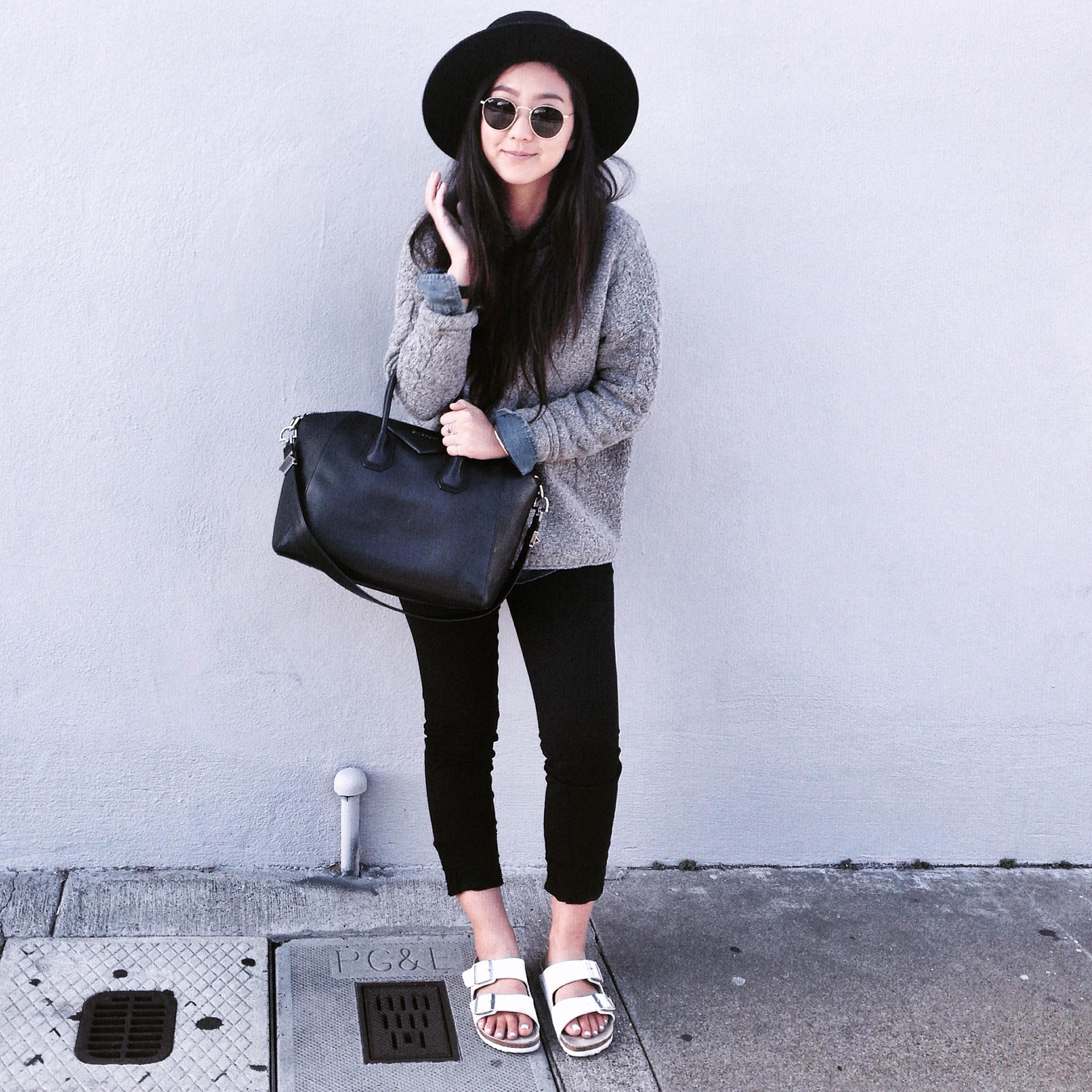 JANESSALEONE   Gabrielle hat   / MADEWELL   cable pullover knit   / ZARA  dress pants  / MADEWELL  denim shirt  /  BIRKENSTOCK   white Arizona sandals