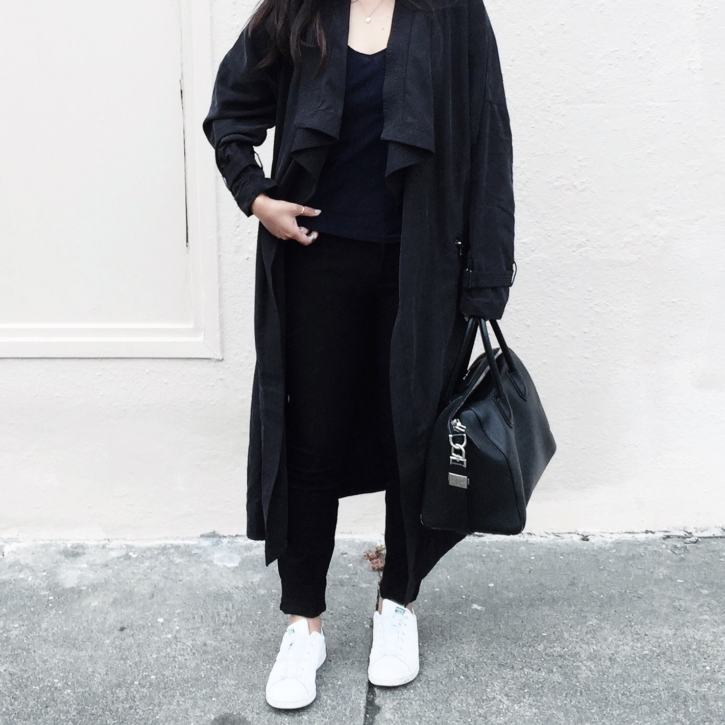 ZARA   trenchcoat   / ADIDAS   Stan Smith sneakers   / J.CREW   silk   cami