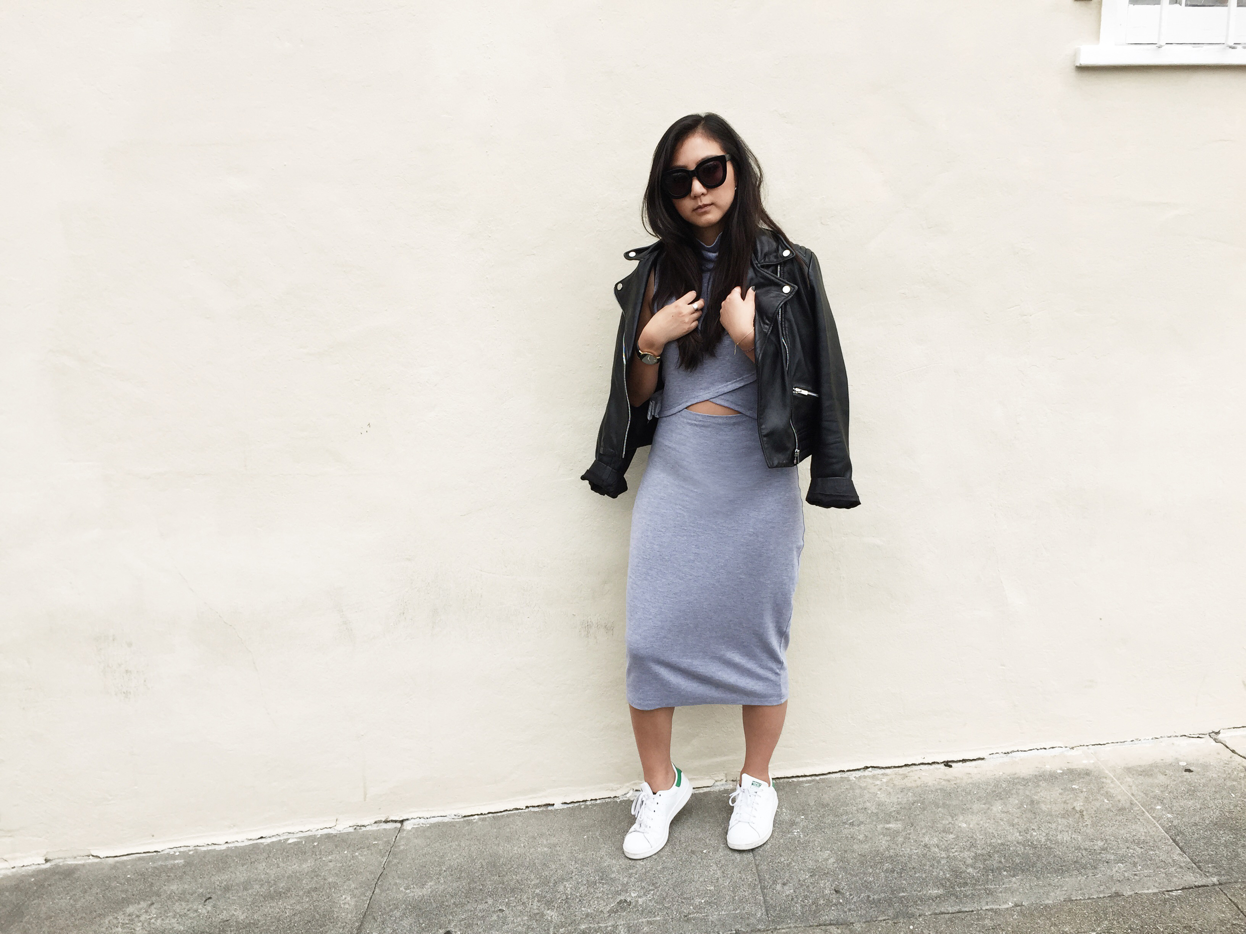 THE FIFTH LABEL   dress   / ADIDAS   Stan Smith sneakers   / MANGO   leather jacket   / RUE GEMBON   ear cuff