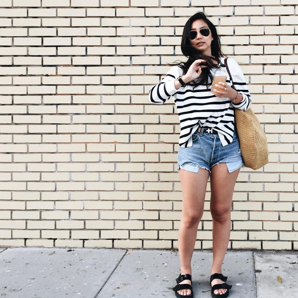 ZARA   striped sweater   / REFORMATION   cut-off     shorts  /  DYLAN KAIN   Birkin belt   / J.CREW   tote   / ZARA  sandals