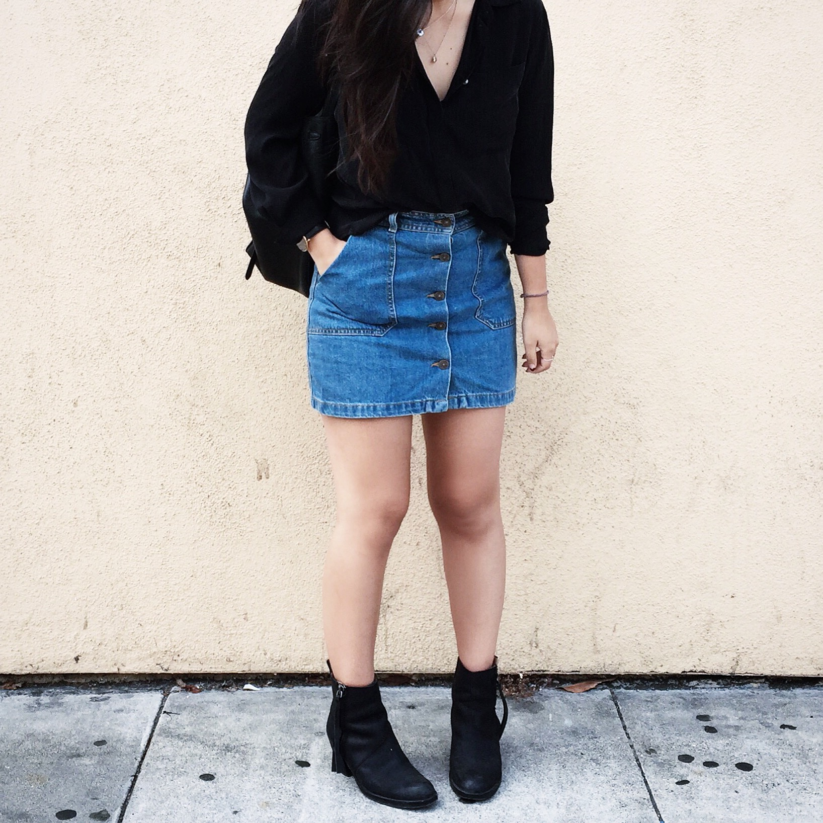 ZARA    denim skirt   / ACNE STUDIOS    Pistol booties   / J.CREW    silk pocket   blouse