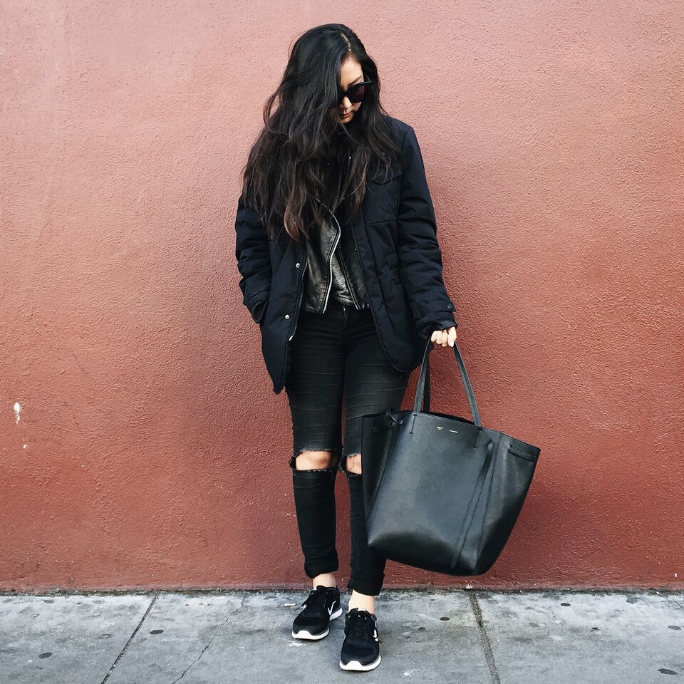 ZARA  men's jacket  / MANGO  leather jacket  / GAP  jeggings  / NIKE   sneakers   / CELINE  Phantom cabas   tote