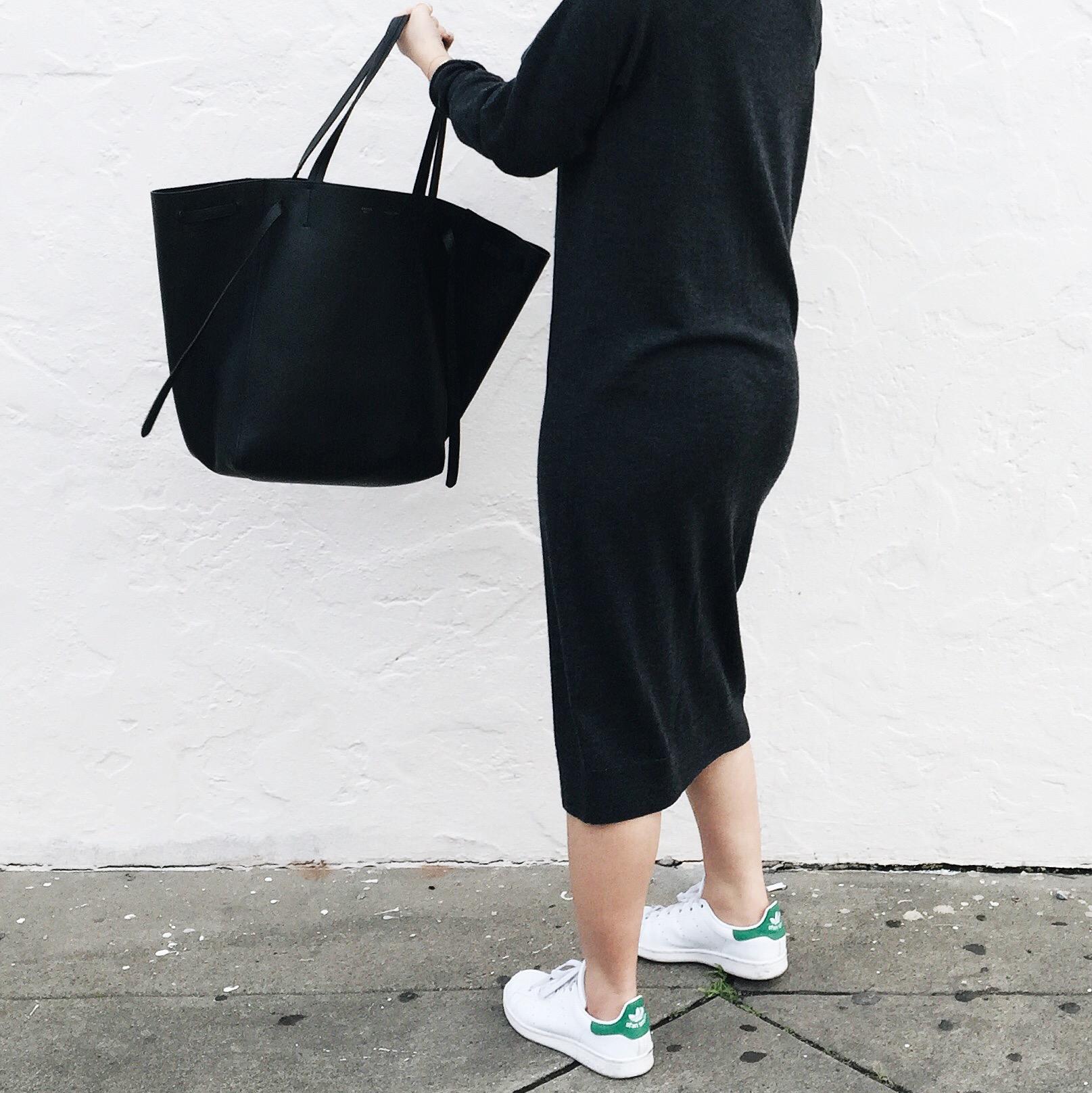 ASOS WHITE   wool dress   / ADIDAS   Stan Smith sneakers   / CELINE  Phantom cabas tote