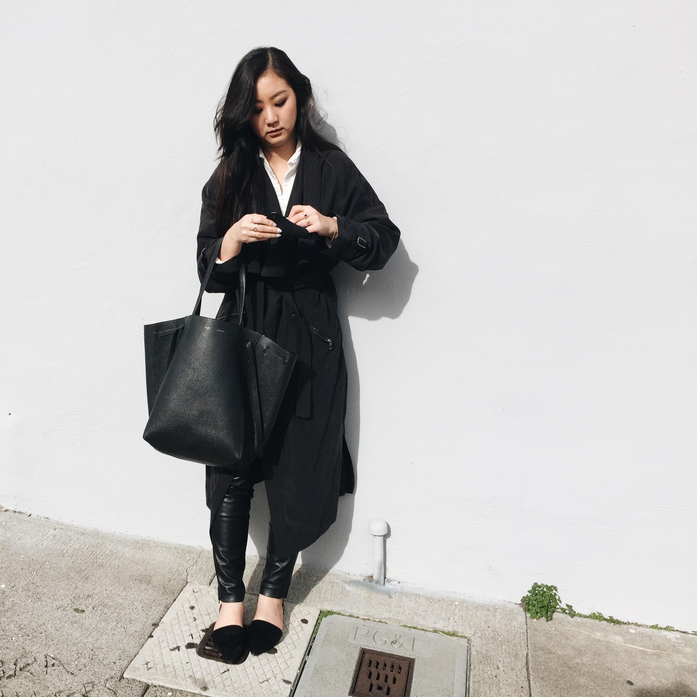 ZARA  trench coat  / H&M  leather leggings  / FREE PEOPLE  shirt  / ZARA  flats  / CELINE  tote