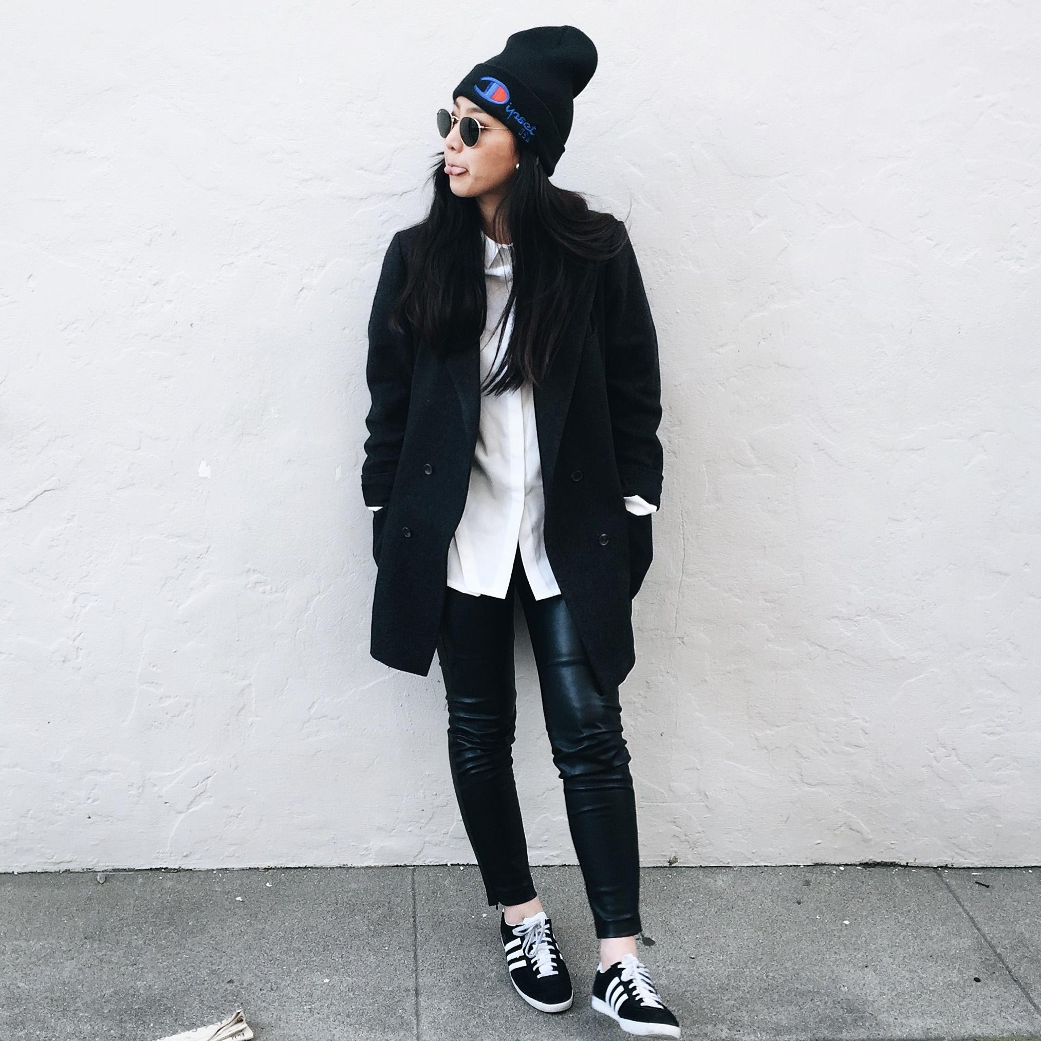 DIPSET  beanie  / PROJECT WHITE ELEPHANT   Riley shirt     / H&M   faux leather leggings   /  bespoke boyfriend blazer  / ADIDAS   Gazelle sneakers
