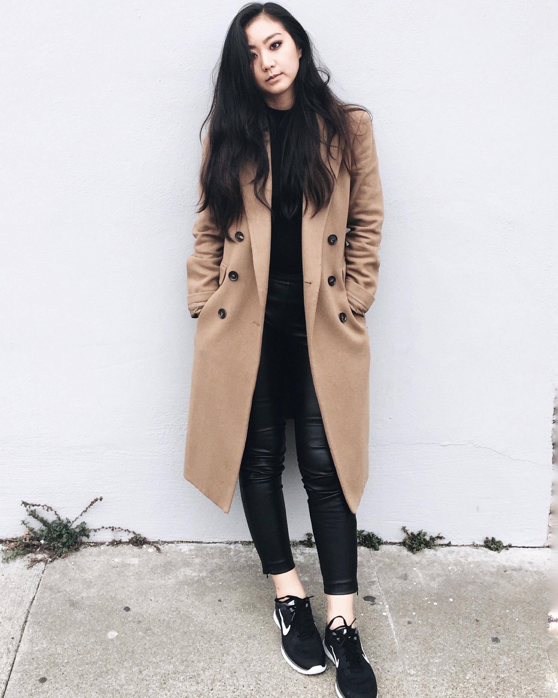 MANGO  camel coat  / H&M   leather leggings   / FREE PEOPLE   turtleneck   / NIKE   sneakers