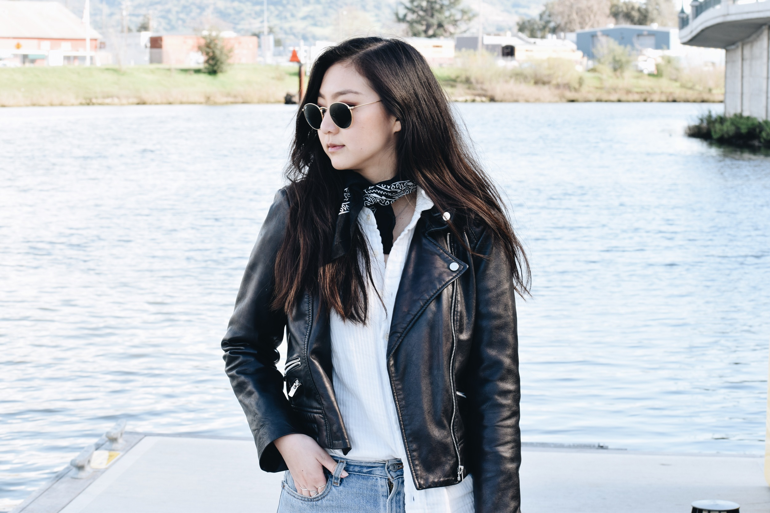MANGO  leather jacket (similar  here )  / FREE PEOPLE  shirt  / URBAN OUTFITTERS   bandana